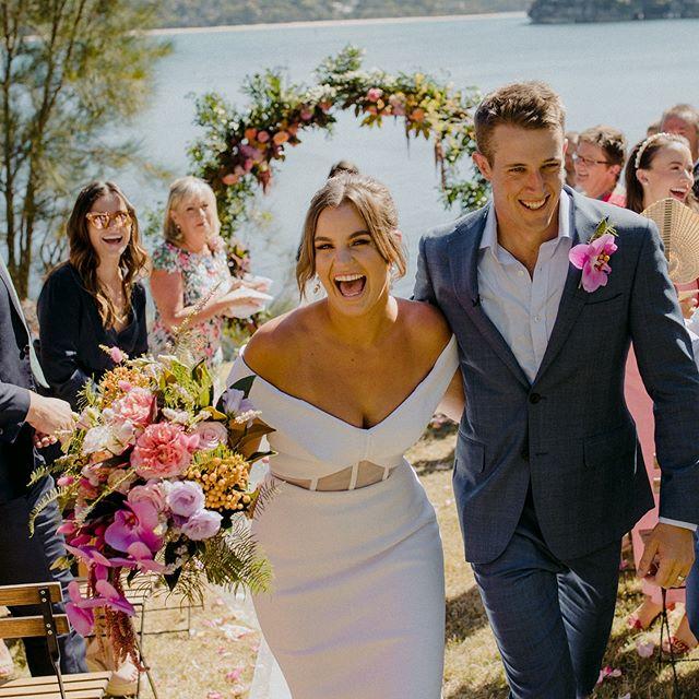 That just married look 😍  Congratulations @tamstrach and Jock xx . . . #summerwedding #flowers #florist #weddingflowers #colour #shireflorist