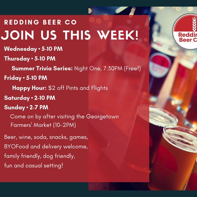 Lots going on this week at Redding Beer Co, we hope you can join us!  Open Wednesday to Sunday, we've got Trivia on Thursday, Happy Hour on Friday, enjoy the Georgetown Farmers' Market on Sunday before your visit here. Enjoy a casual setting with new or old friends, bring your family, even your dog! We're BYOFood and delivery so pair your takeout with our beer, here!  #reddingdrinks #drinklocal #ctbeertrail #ctbrewery #ctbeerdrinkers #redding #ridgefield #georgetown #reddingct #ridgefieldct #pubtrivia #trivianight #happyhour #dogfriendly #beertravel #craftbeer #ctvisit #ctbeer
