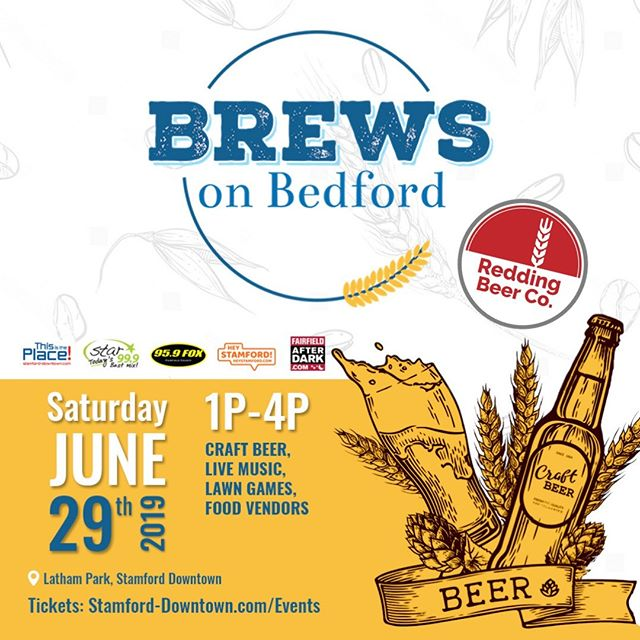 We're thrilled to be one of the participating breweries for Brews on Bedford - a craft brew event that's like heaven for beer lovers!  Over 40 beer varieties and 20+ breweries all there, plus food vendors, live music, games and more!  Today is the last day for $35 tickets, they're $40 day-of and at risk of selling out, so make your plans, snag a ticket, and we'll see you tomorrow!  Saturday 1-4PM Latham Park, Bedford St Stamford  Check out @stamforddowntown for more details and link for tickets.  #craftbeer #drinklocal #ctbeertrail #ctbeer #ctbeerdrinkers #craftbeerculture #beerfest #beerfestival #craftbeerfestival #brewsonbedford #craftnotcrap #summerbeer #beertravel #ctbrewery #ctbreweries #microbrewery