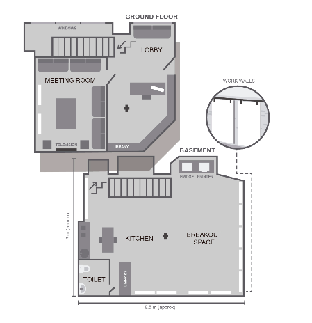 The IA Studio is comprised of a 30sqm ground floor and a well-lit 60sqm basement.