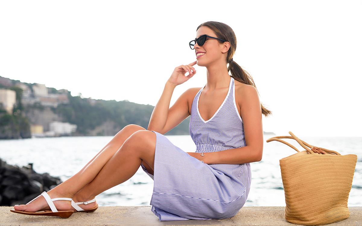 Cat Turner Amalfi Coast Striped Halterneck Cotton Summer Dress - Lifestyle shot in Sorrento 1.jpg