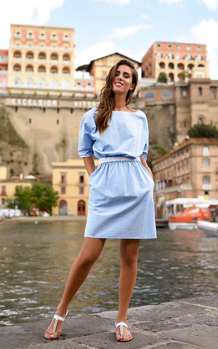 Sorrento Marina with Cotton-Blend, Light Blue Summer Dress With Sleeves.jpg