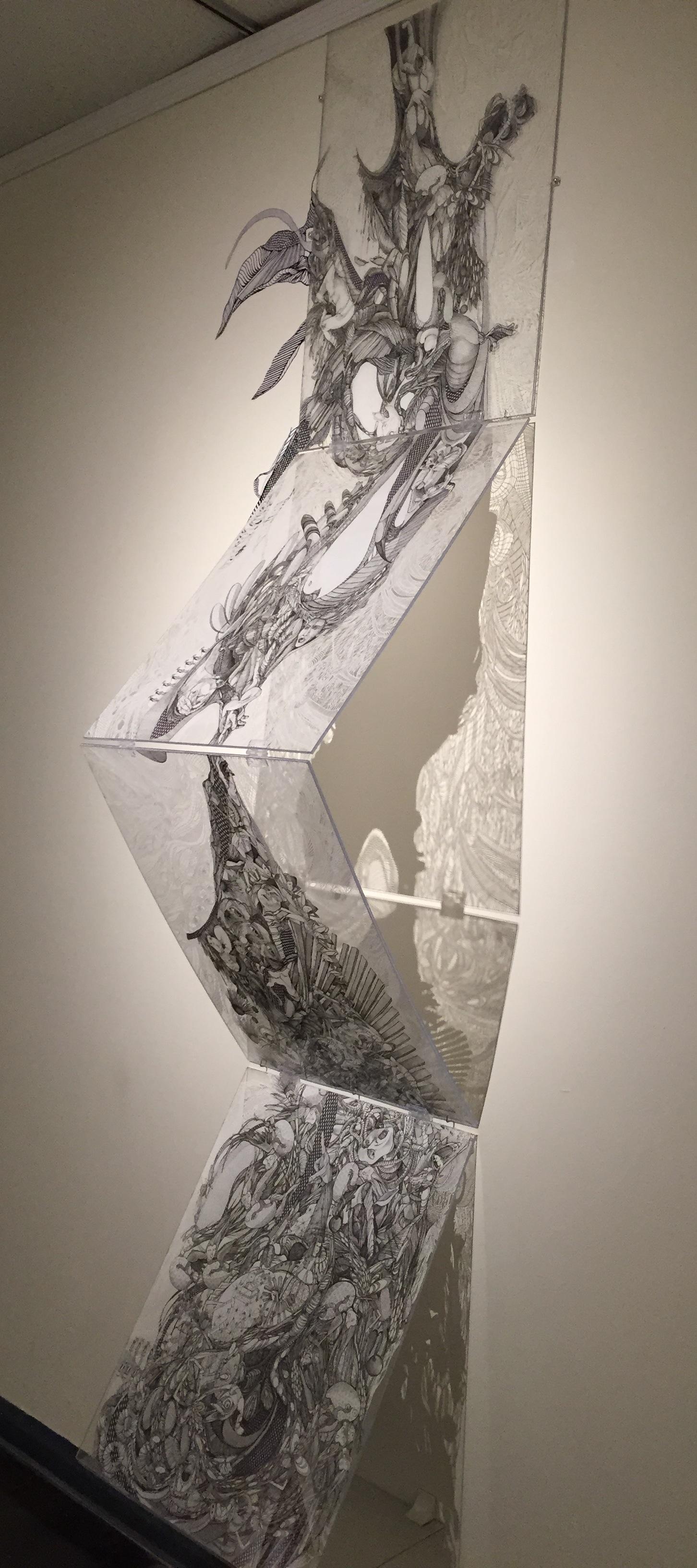 """""""While We Wait"""", pen & ink, cut paper & plexiglass"""