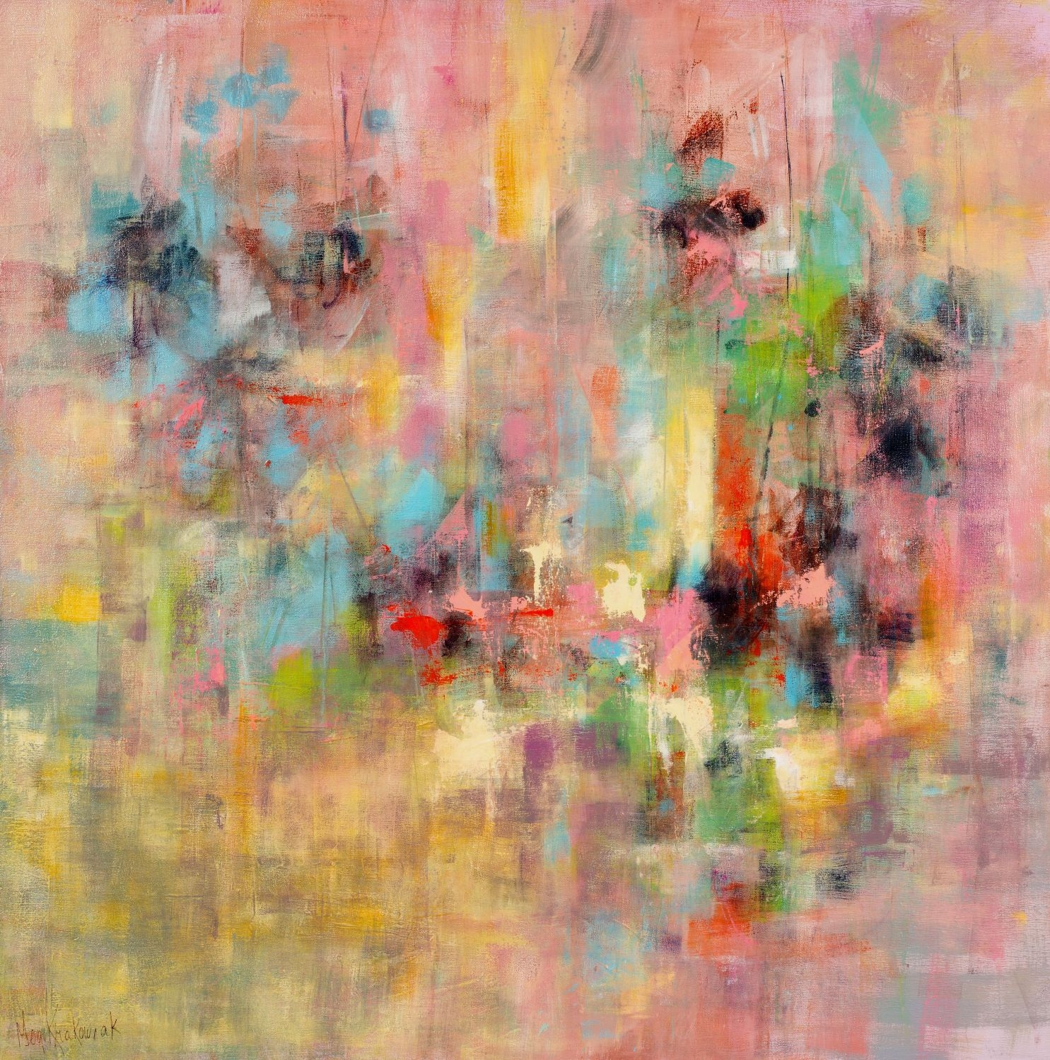 Pink Connections - 36x36 (SOLD)