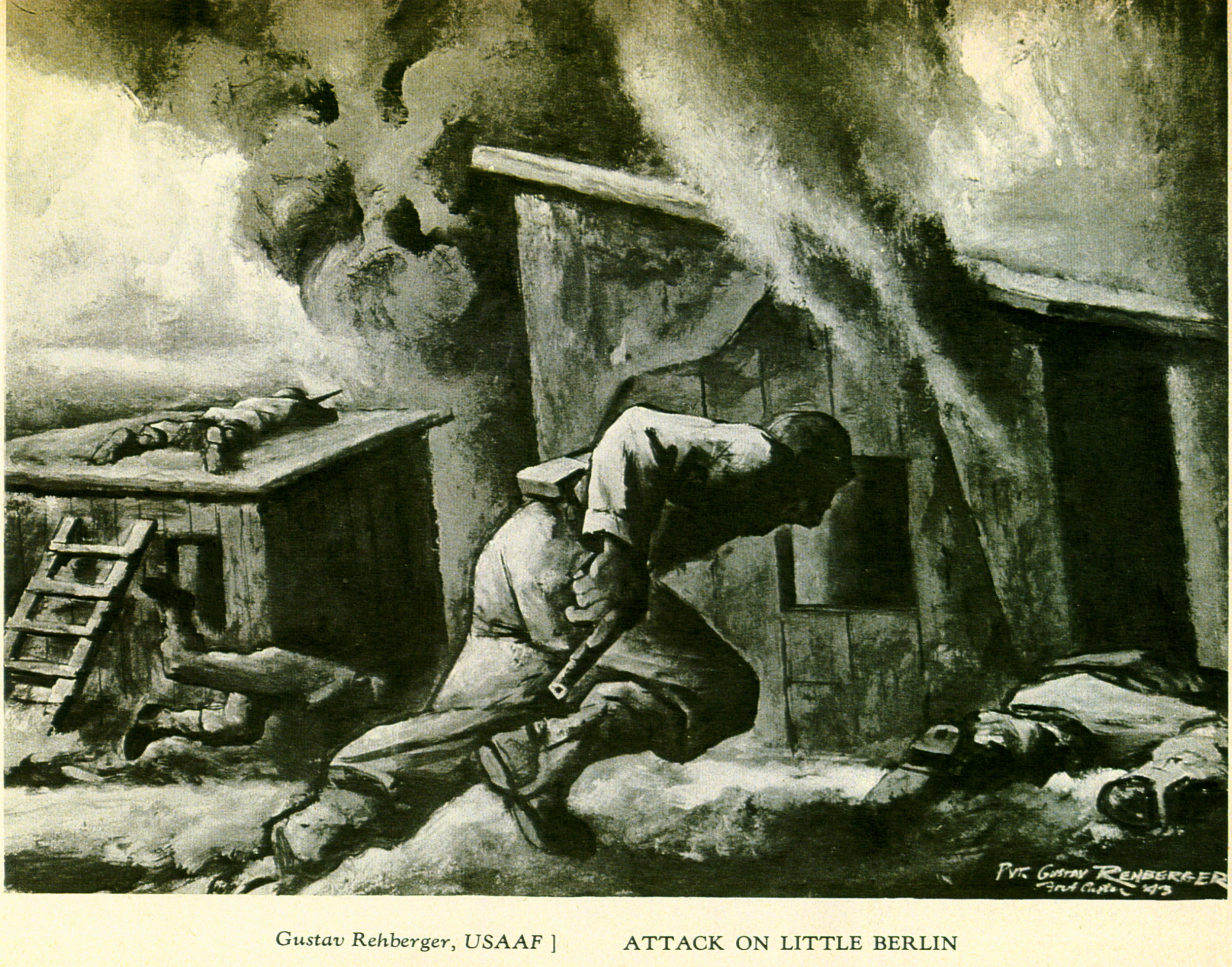 """Attack on Little Berlin"" - Army Illustrators of Fort Custer, Michigan 1944 - Art in the Armed Forces - Pictured by Men in Action, Edited by Aimee Crane"