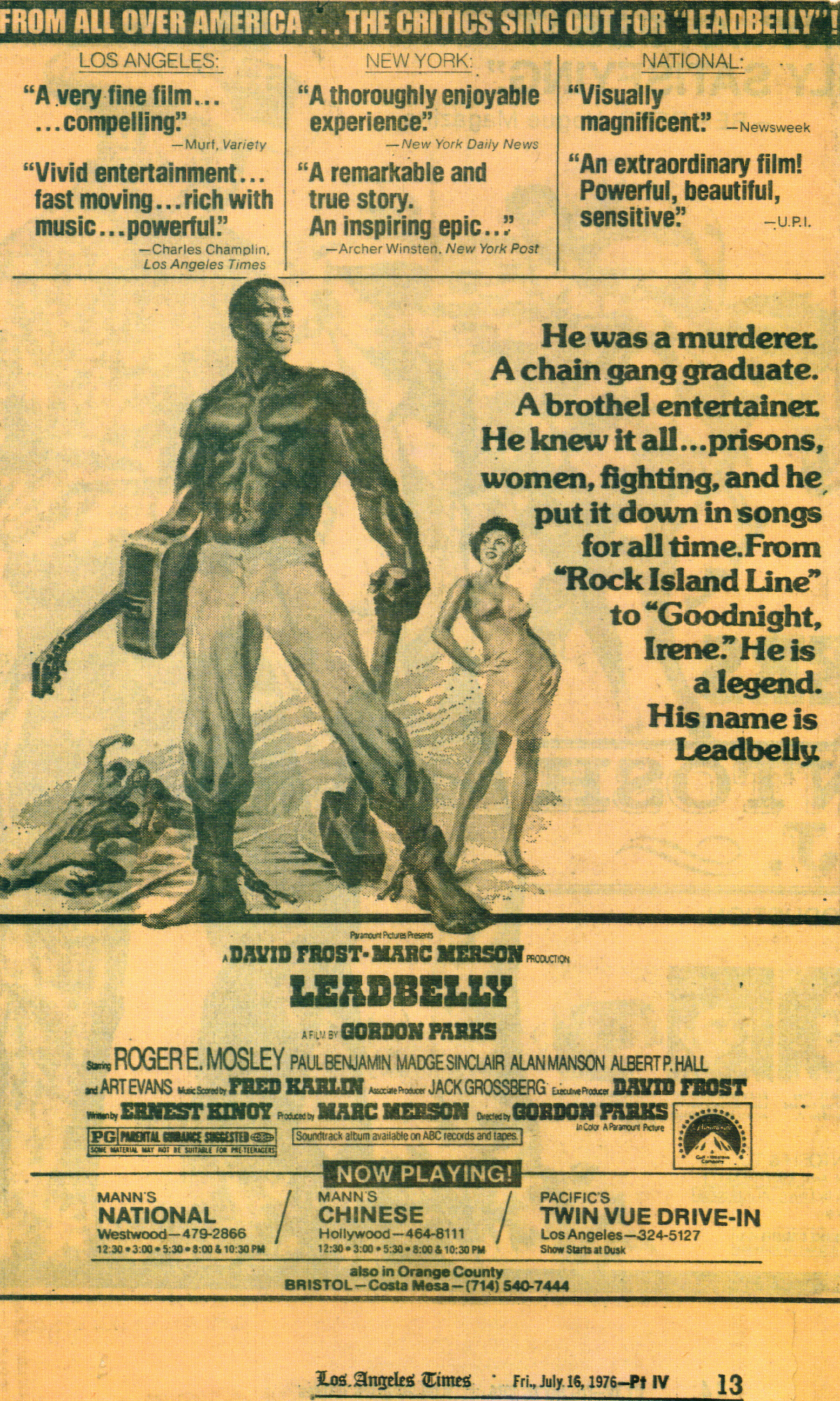 """""""Leadbelly"""" starring Roger Mosley (Paramount)"""