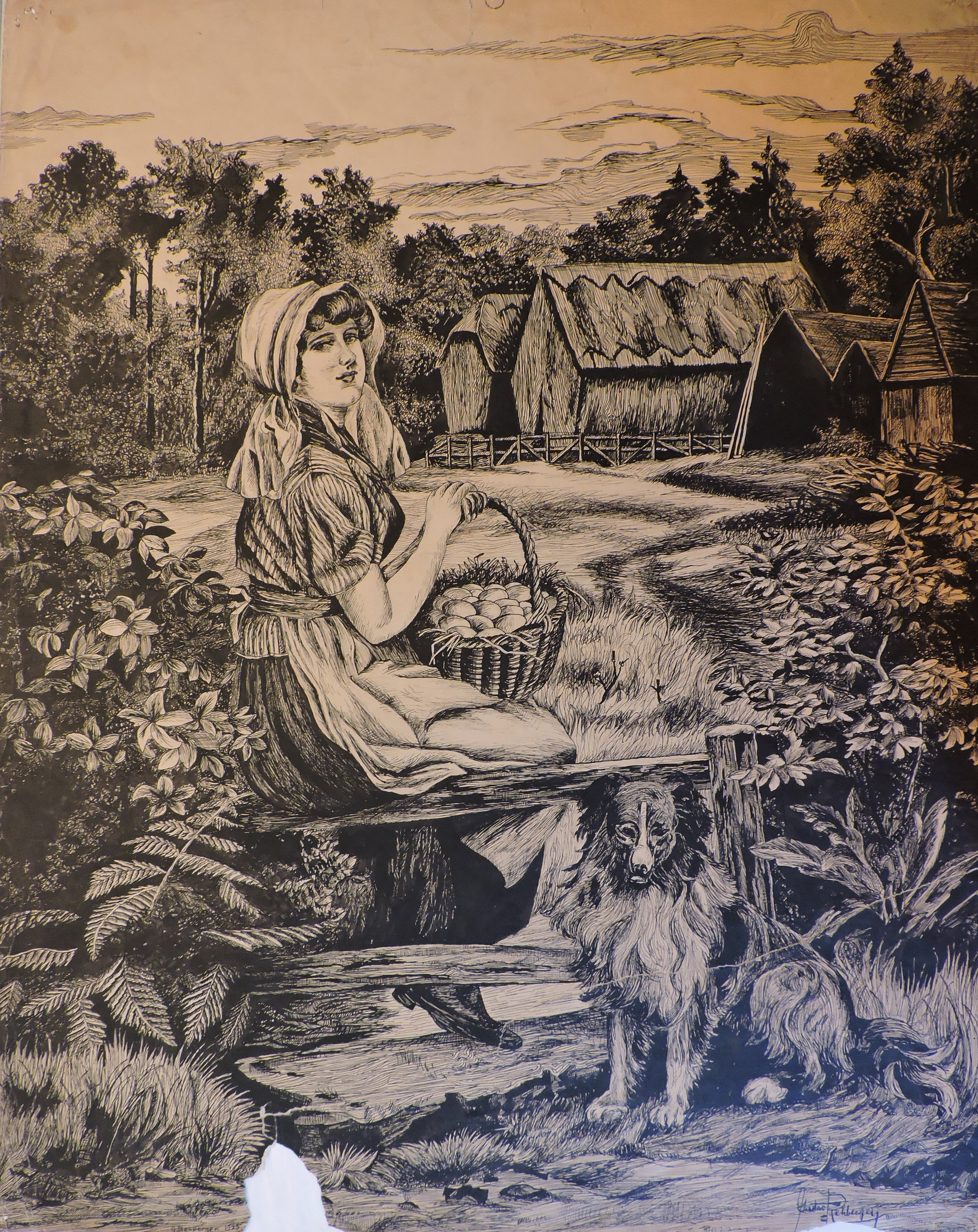 1925 - Dairymaid with Dog (Pen & Ink, 24 x 19)