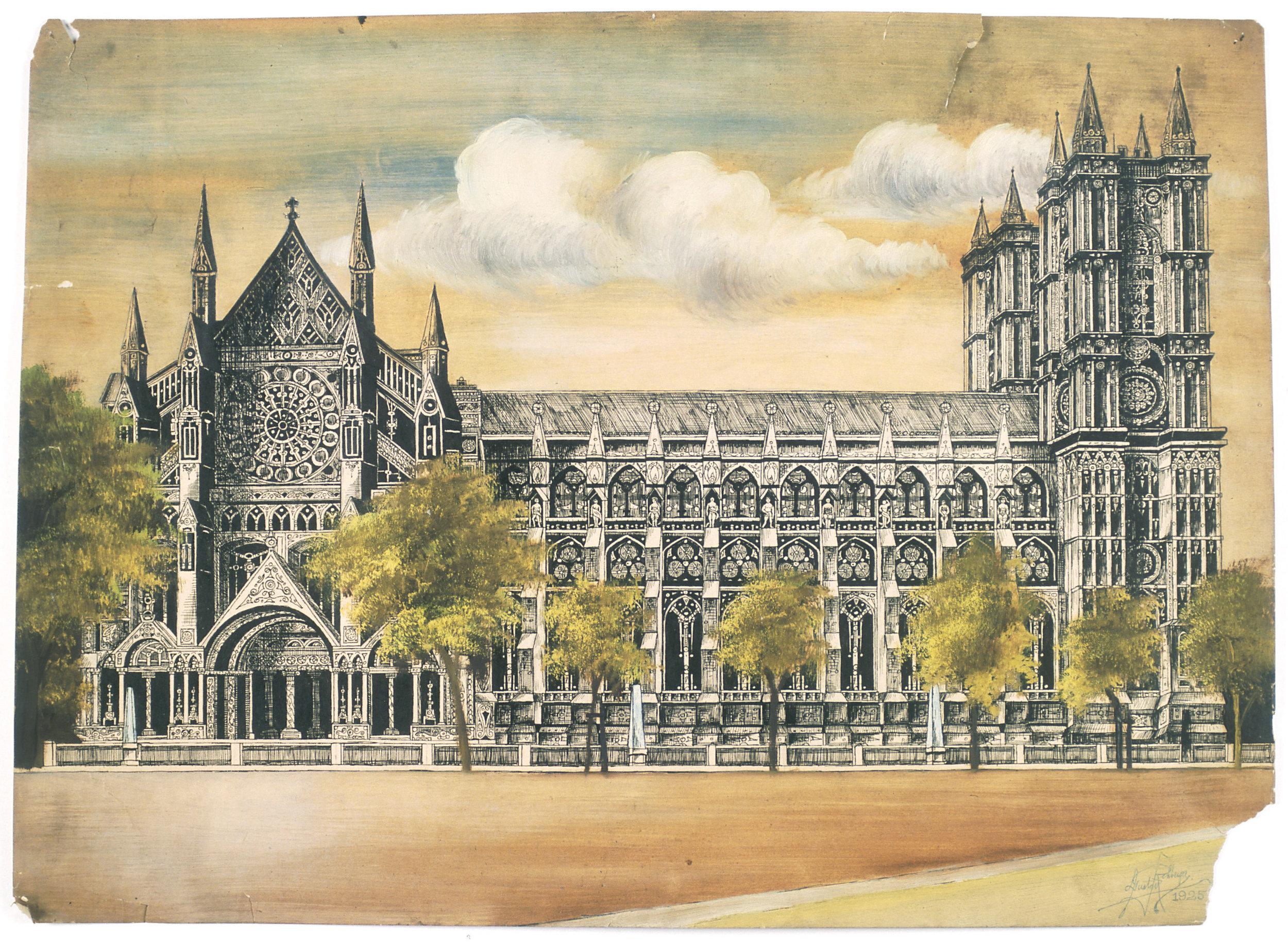 1925 - Westminster Abbey (pen & ink, oil 20x30)