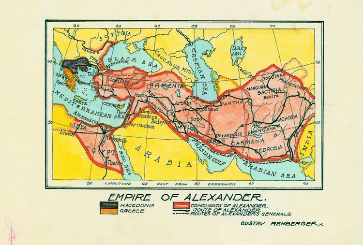 1927 - Map of Empire of Alexander (Pen & Colored Inks, Wash)
