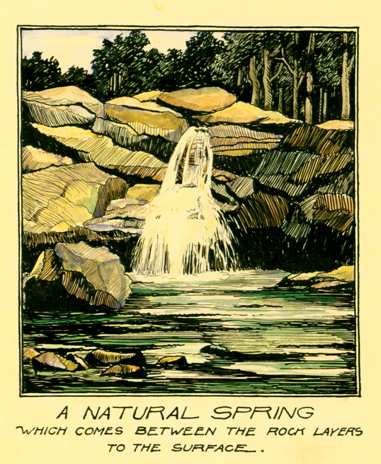 1927 - A Natural Spring (Pen & Colored Inks, Wash)