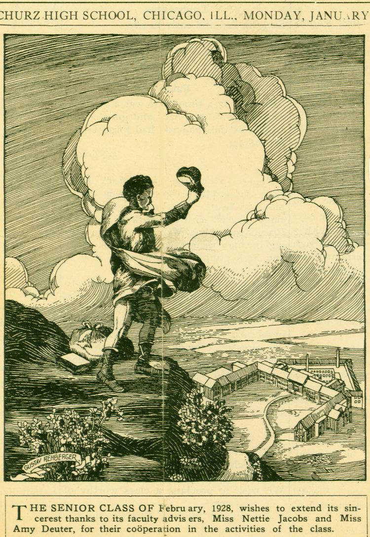 1928 - The Literary Dijest - The Carl Schurz High School (Pen & Ink, 5.50 x 4.50)