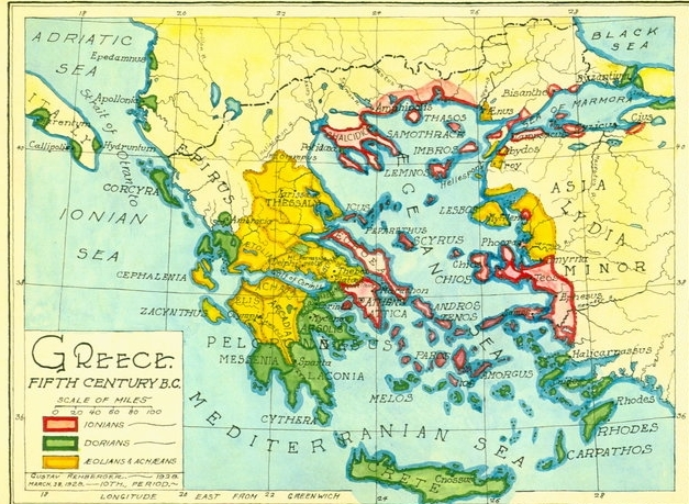 1927 - Map of Greece Fifth Century (Pen & Colored Inks, Wash)