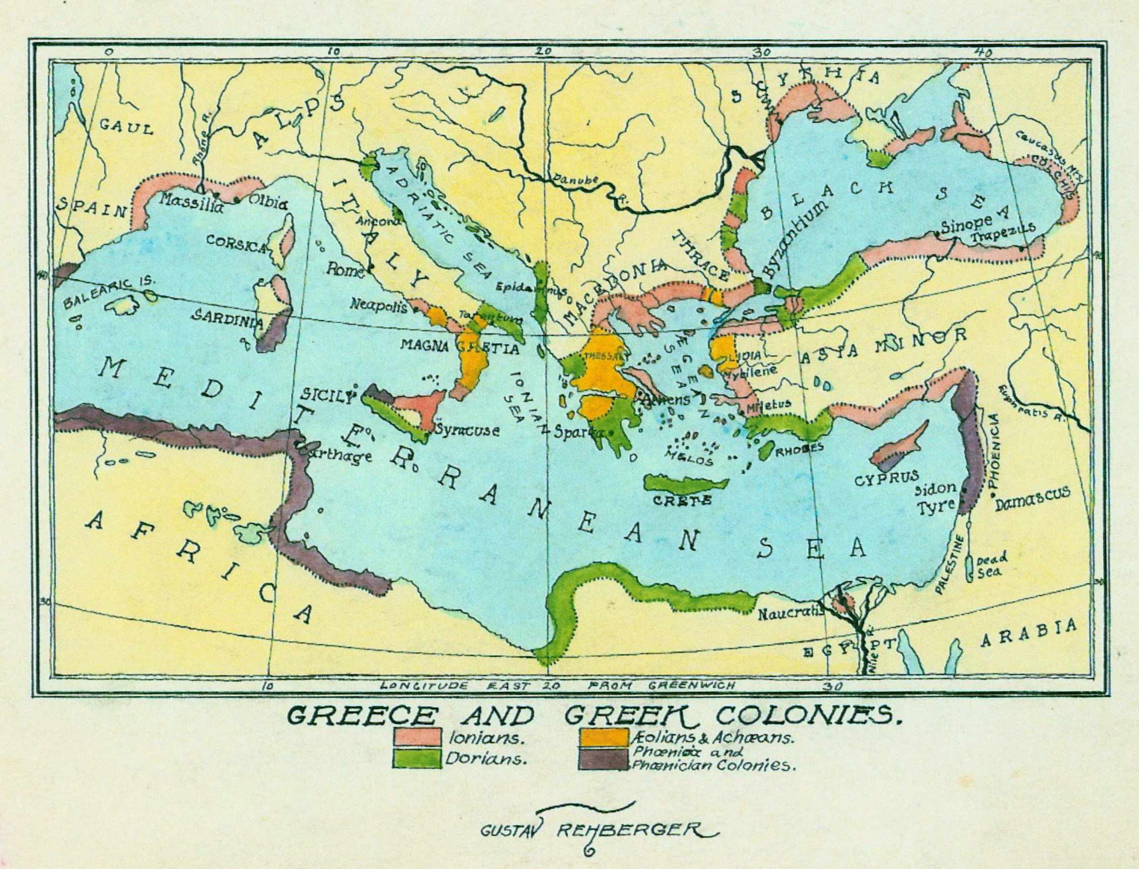 1927 - Map of Greece and Greek Colonies (Pen & Colored Ink, Wash)