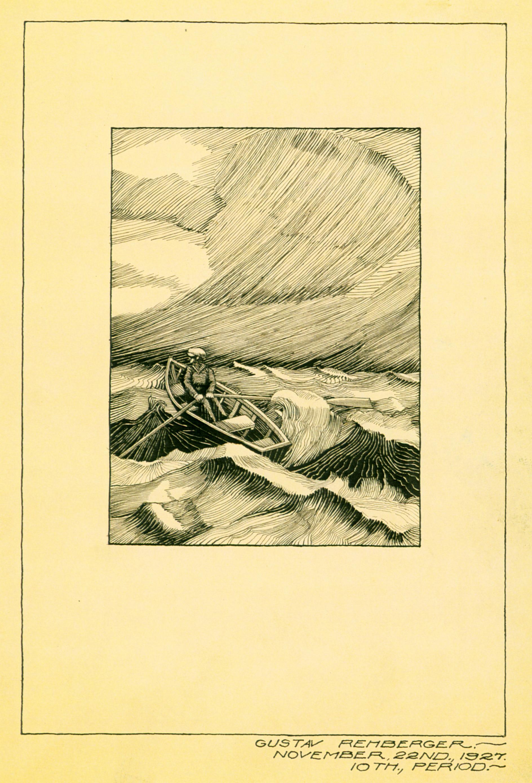 Nov 22, 1927 - Man Rowing (Pen & Ink, Wash, 5 x 3.75)