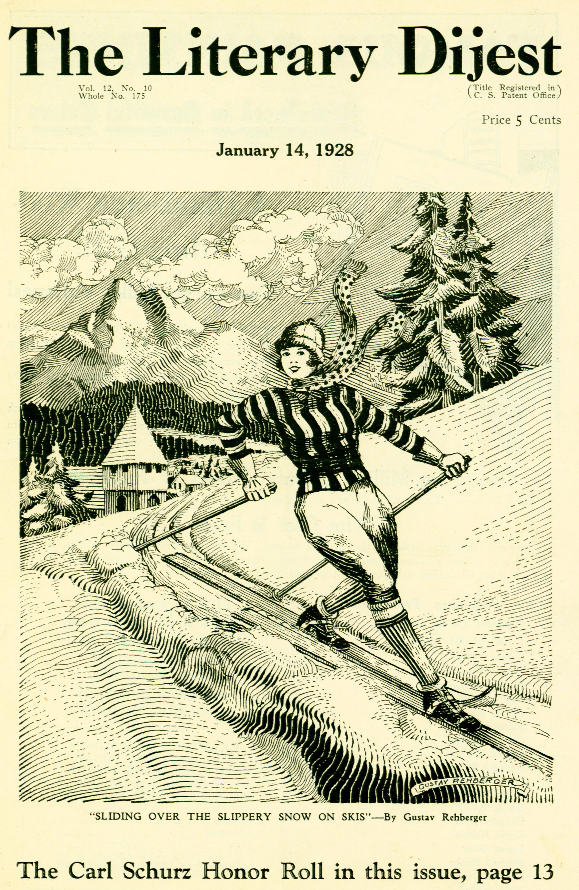 1928 - The Literary Dijest - The Carl Schurz High School (Pen & ink, 7 x 6)