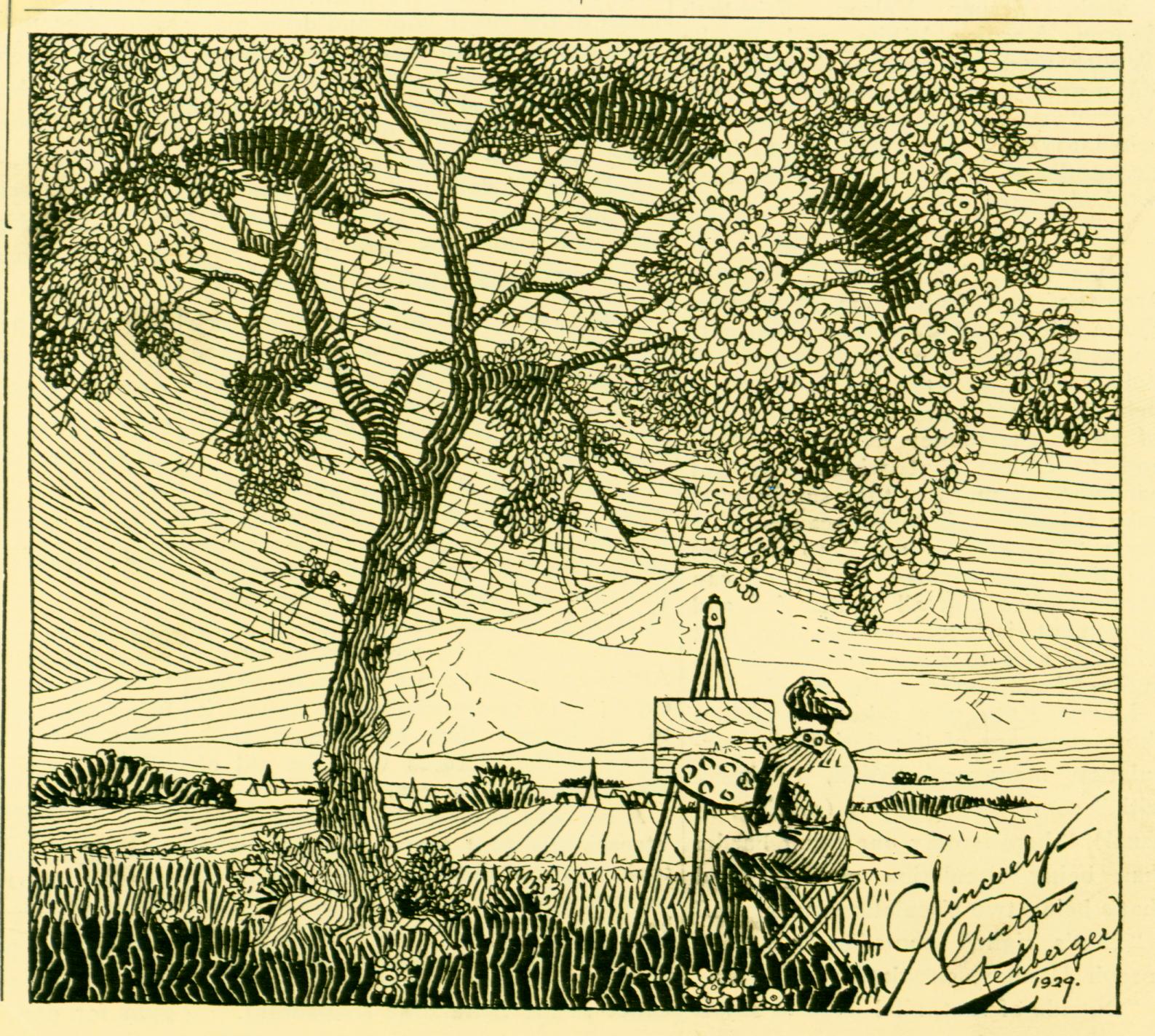 1929 - The Literary Dijest - Carl Schurz High School (Girl reading at base of tree, Pen & Ink, 7 x 6)