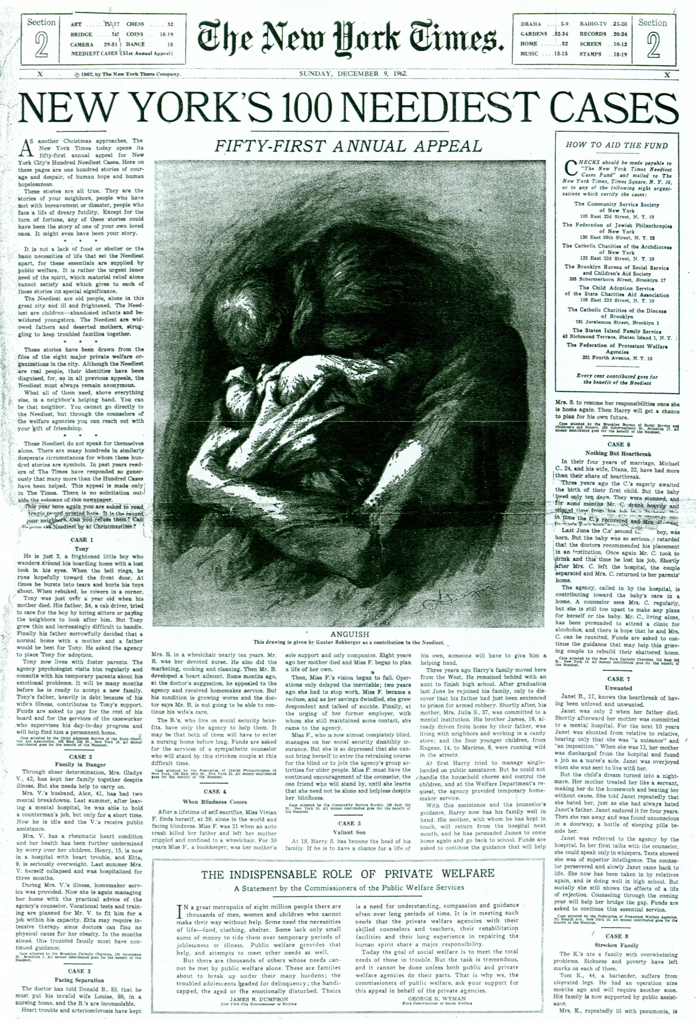 """December 9, 1962 - """"New York's 100 Neediest Cases"""""""