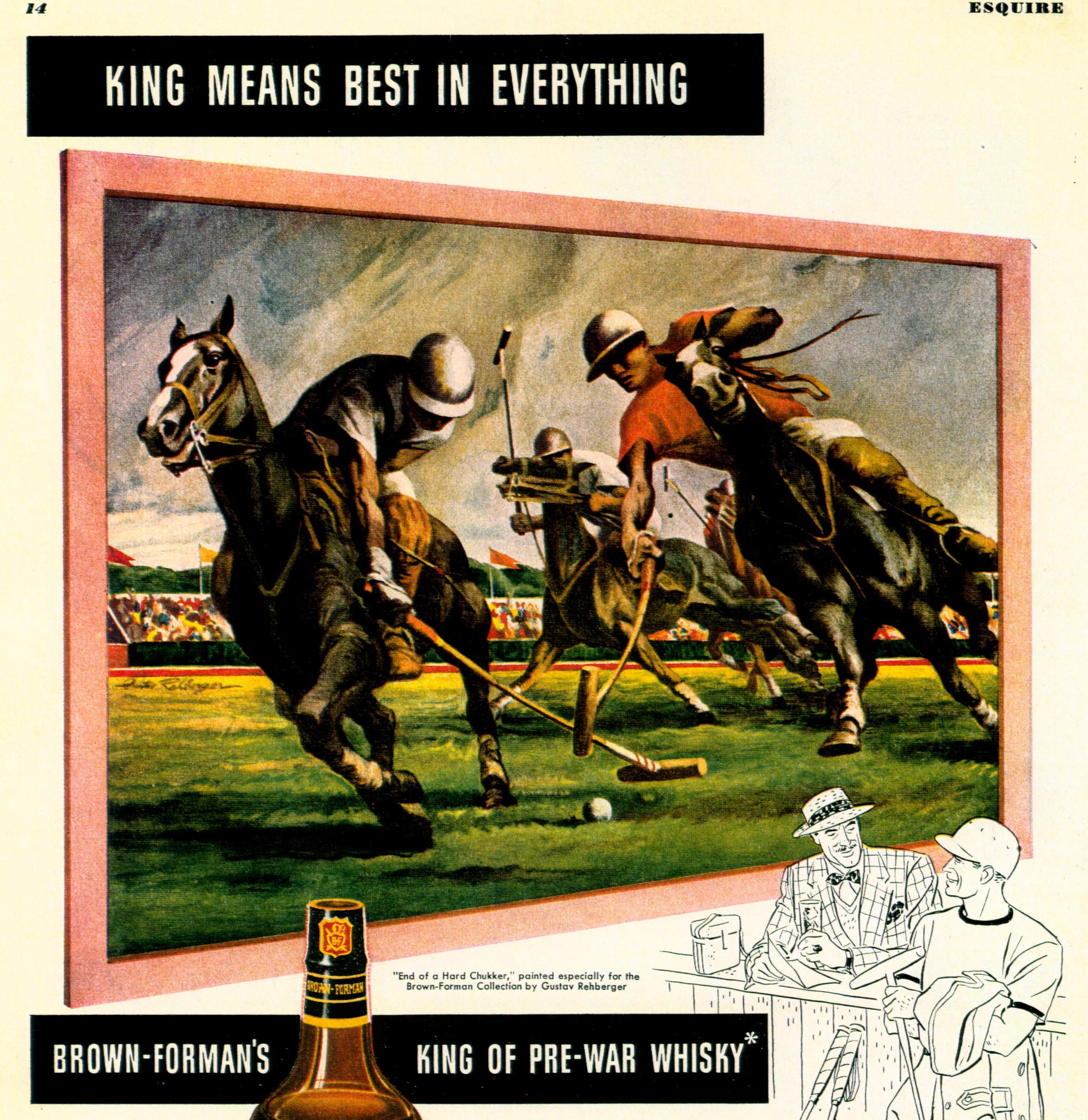 KING WHISKY Ad  OCT 1946  ESQUIRE  End of a Hard Chukker.JPG