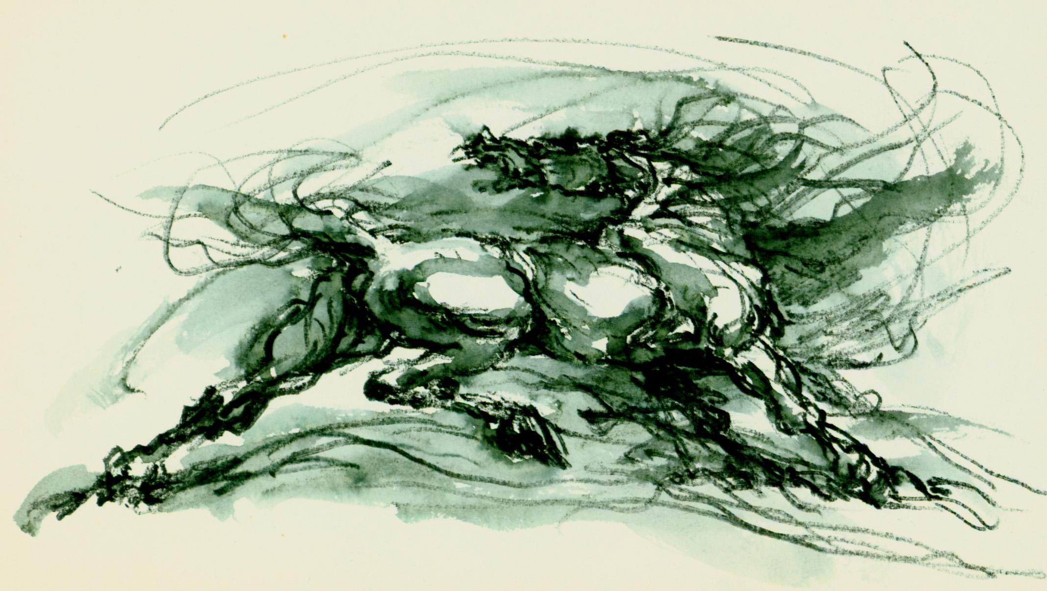 "<font size='3' font color='gray'><p id=""myP"" style=""text-transform:capitalize"">Horse (Pen & ink, wash, 4 x 7) c. 1980's</p>"