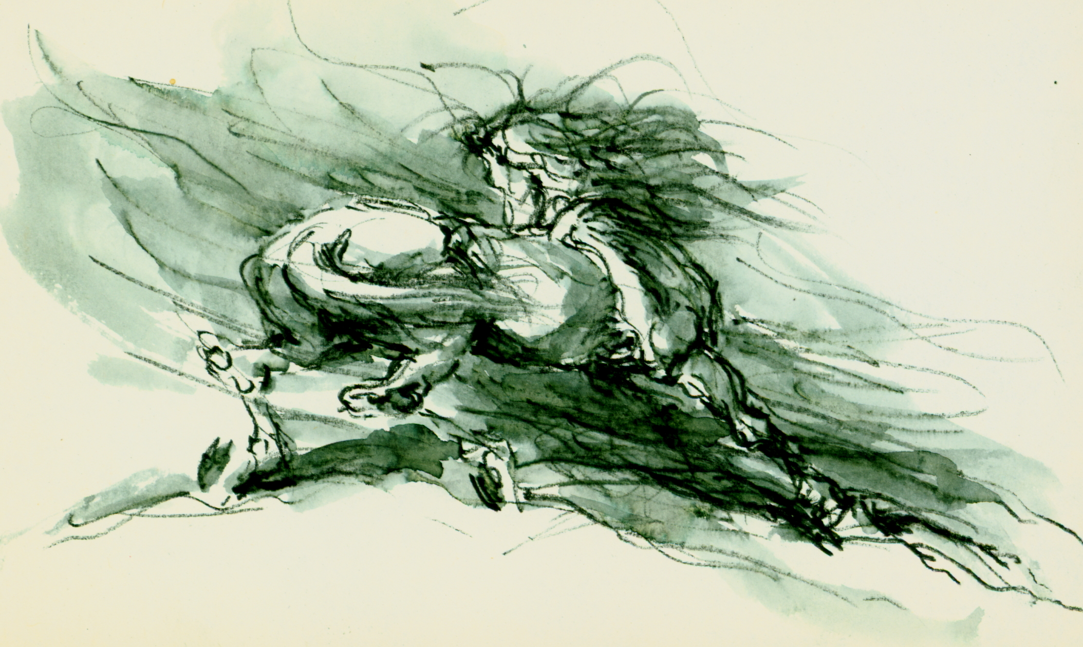 """<font size='3' font color='gray'><p id=""""myP"""" style=""""text-transform:capitalize"""">Horse in a Storm (Pen & ink, wash, 4.50 x 7)  c. 1980's</p>"""