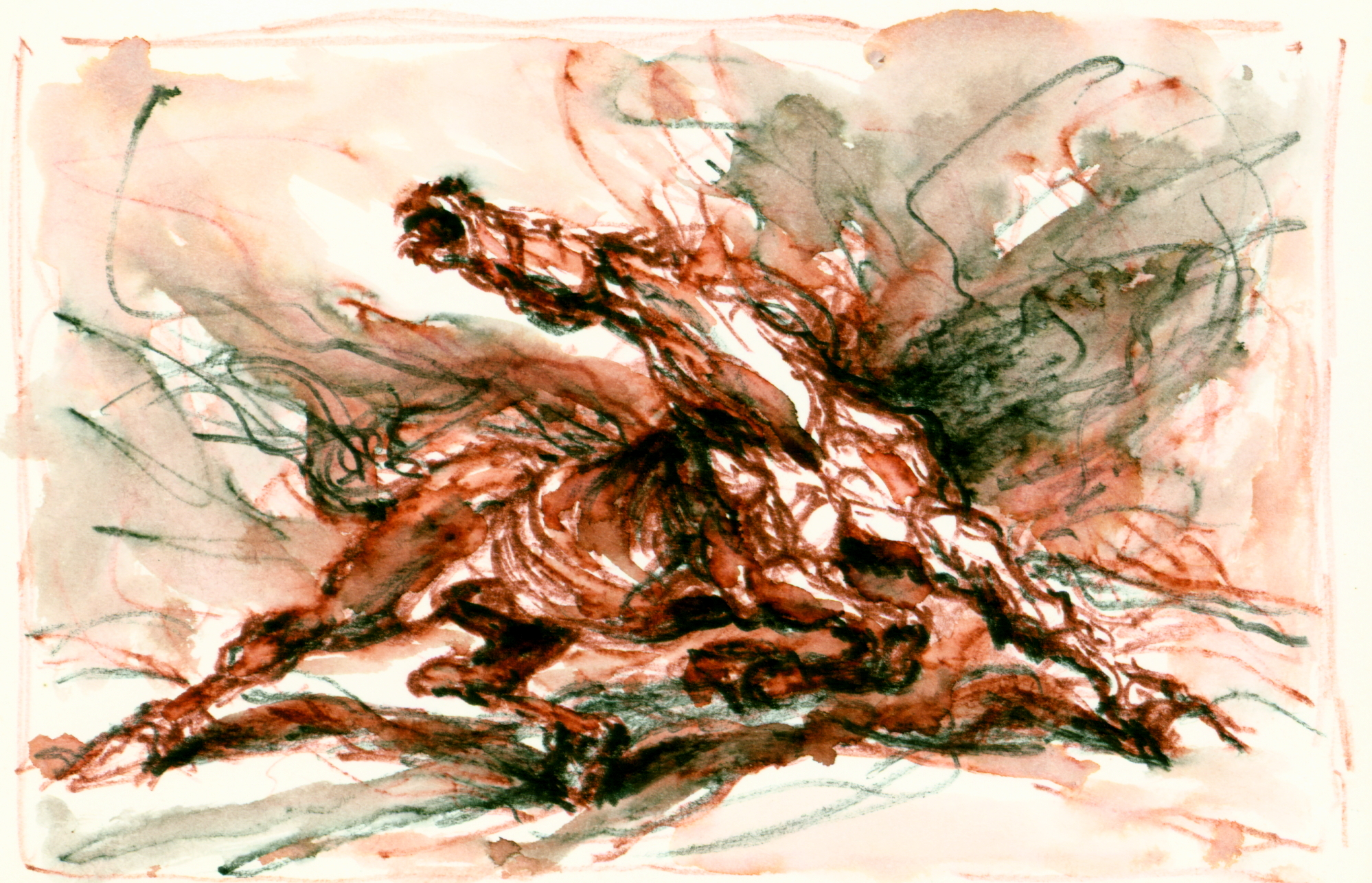 """<font size='3' font color='gray'><p id=""""myP"""" style=""""text-transform:capitalize""""><font size='3' font color='gray'>HORSE in Red Ink  (Pen & ink, wash, 4.50 x 6.25) c. 1980's</p>"""