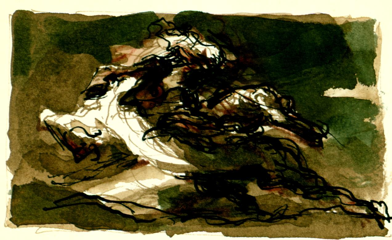<font size='3' font color='gray'>MAN & HORSE  (Pen & ink, brown & green wash, 2.25 x 4) c. 1980's