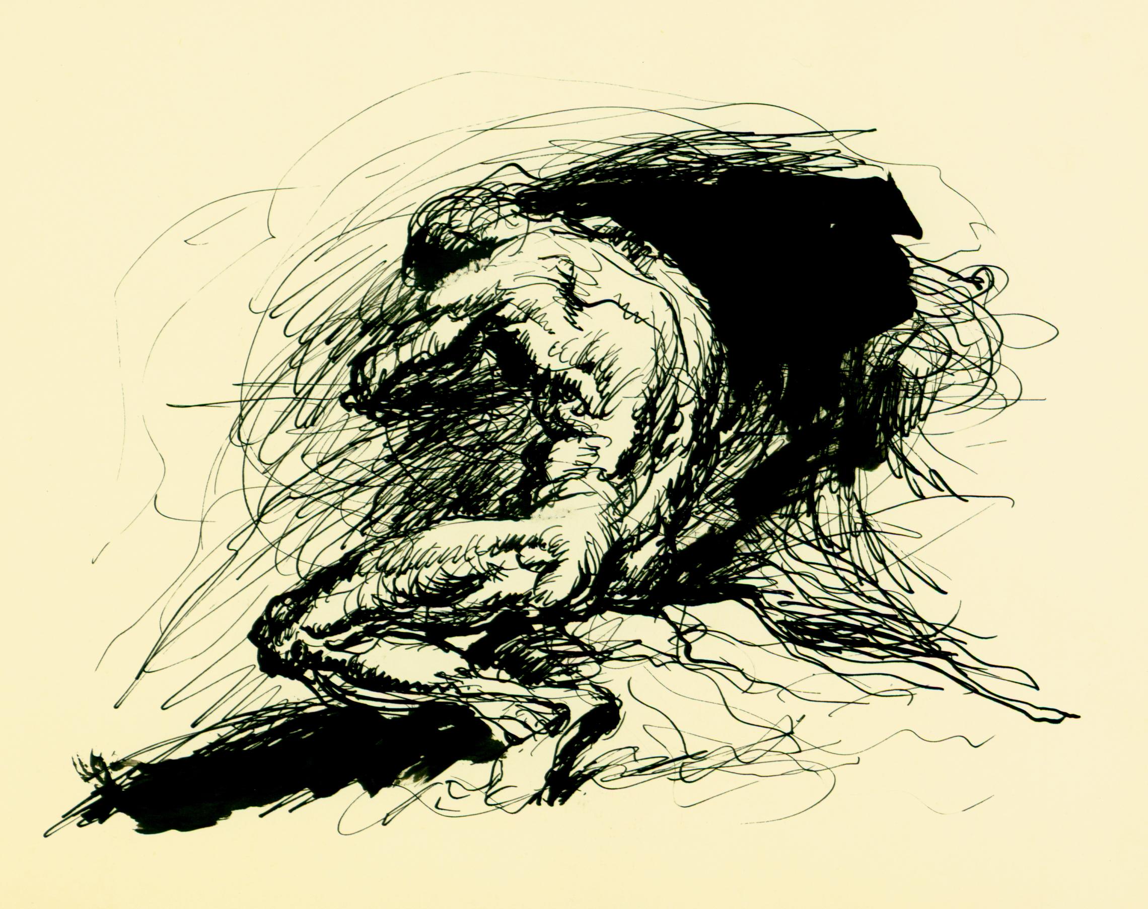 <font size='3' font color='gray'>MAN (pen & ink wash, 4 x 6)