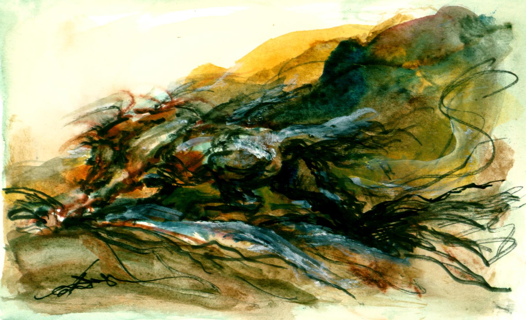 <font size='3' font color='gray'>Watercolor Horse (Pen & black ink, 4 x 6)