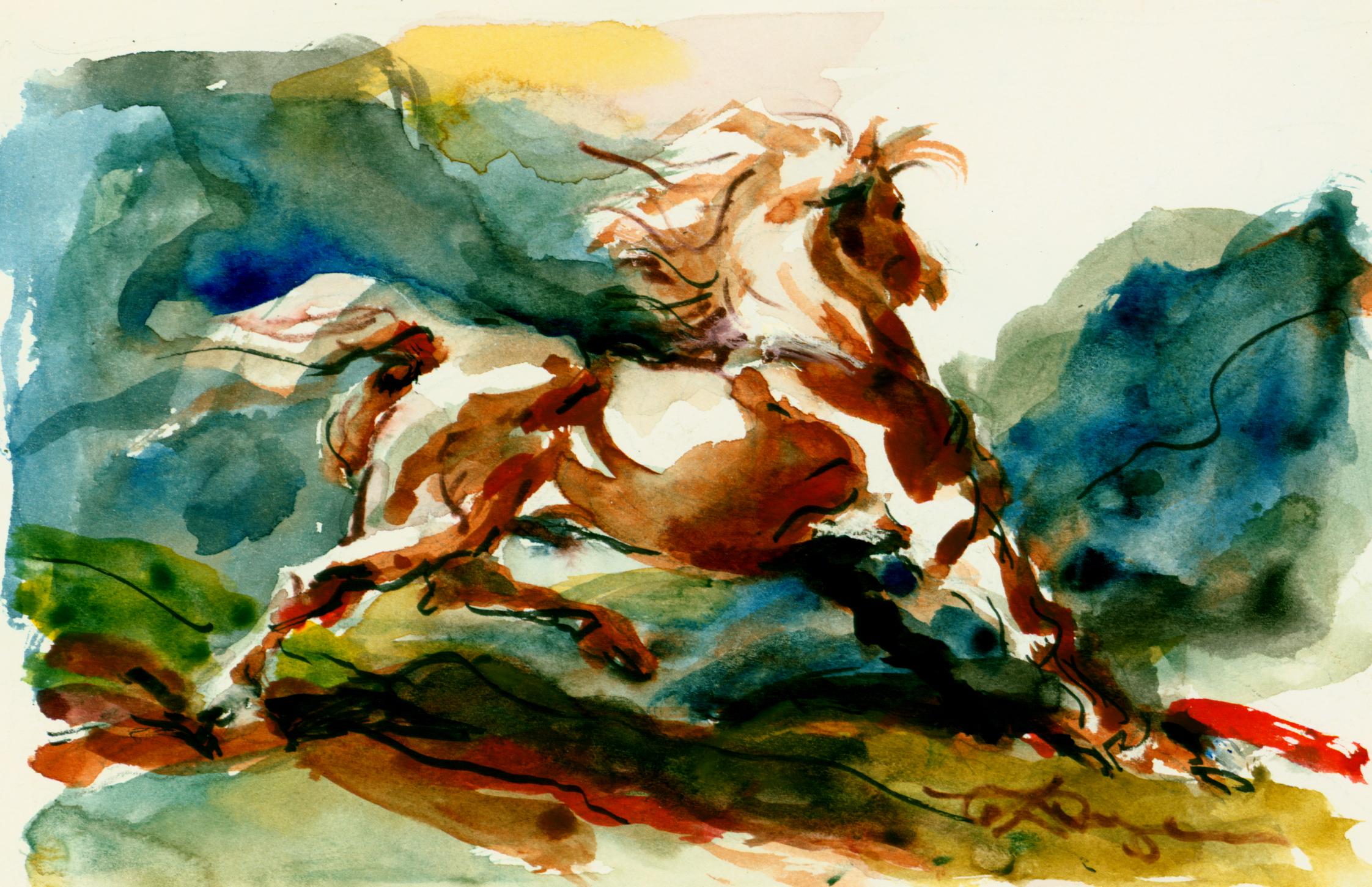 <font size='3' font color='gray'>Watercolor Horse  (5 x 8) c. 1980's