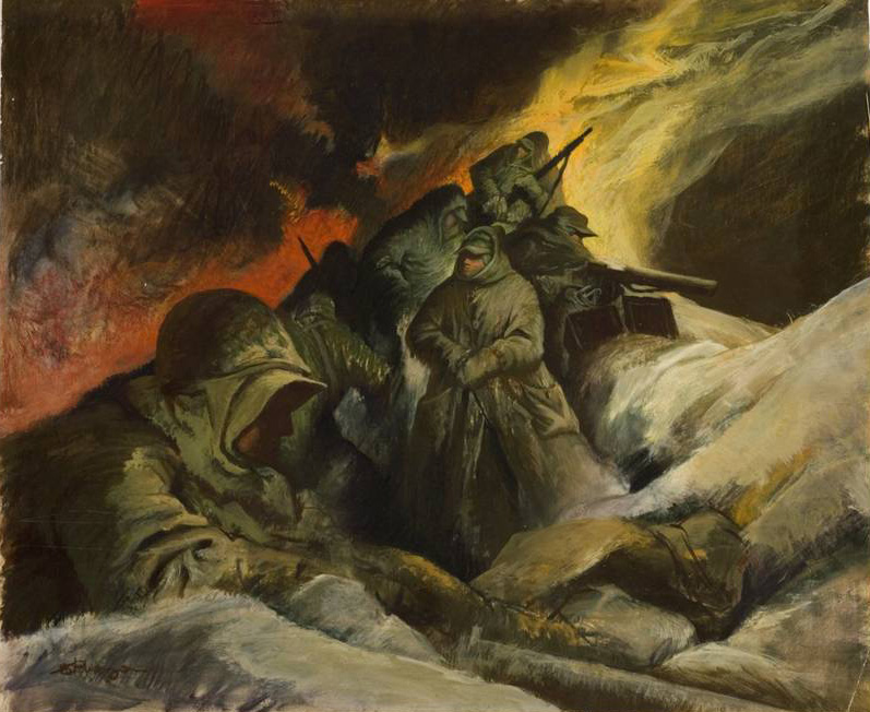 September 1951 - The Marines-Korea - Spencer Museum of Art Permanent Collection  (Oil,  30x33)