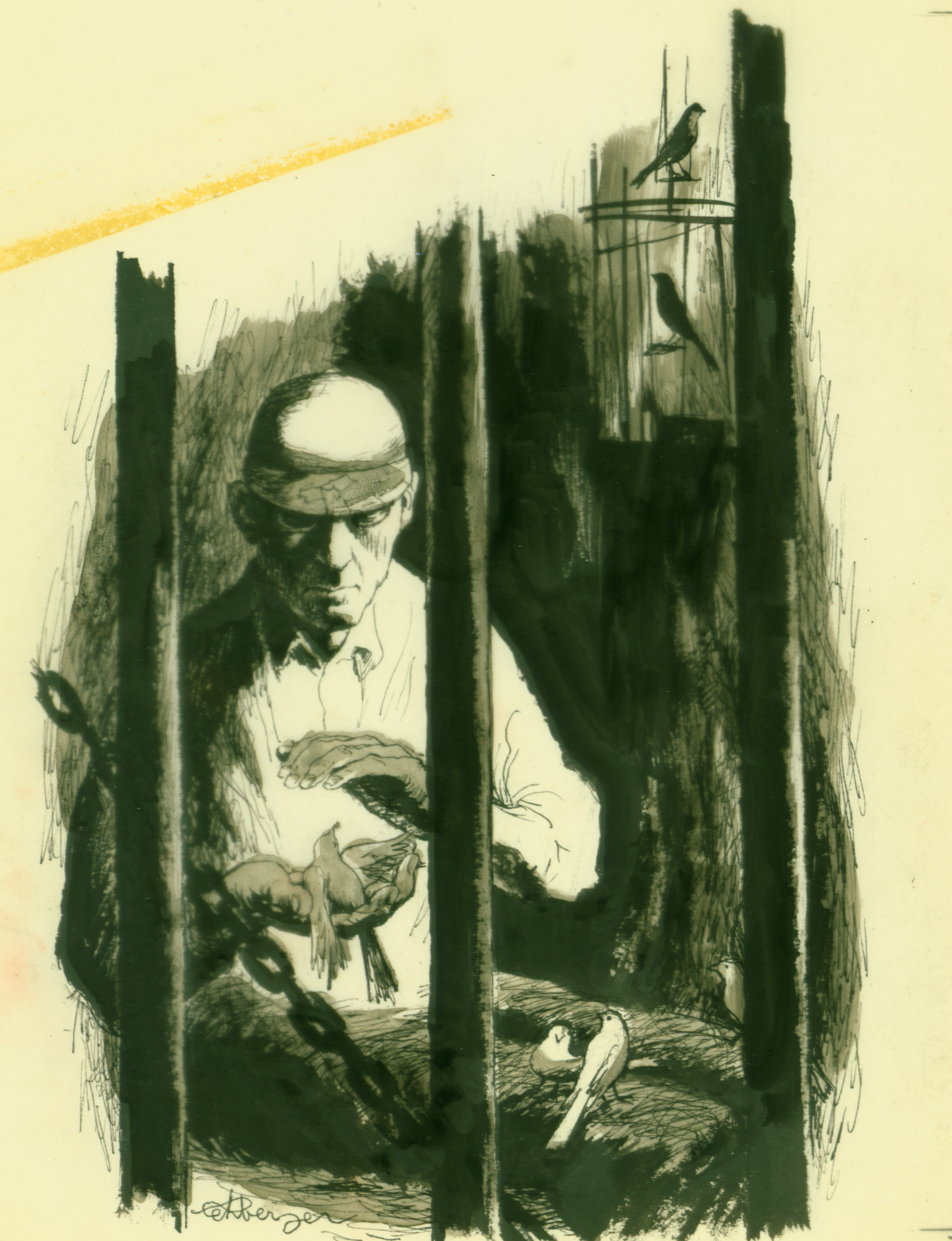 October 1958 - The Agony of the Caged Birdman (Pen & Ink Wash, 8x6)
