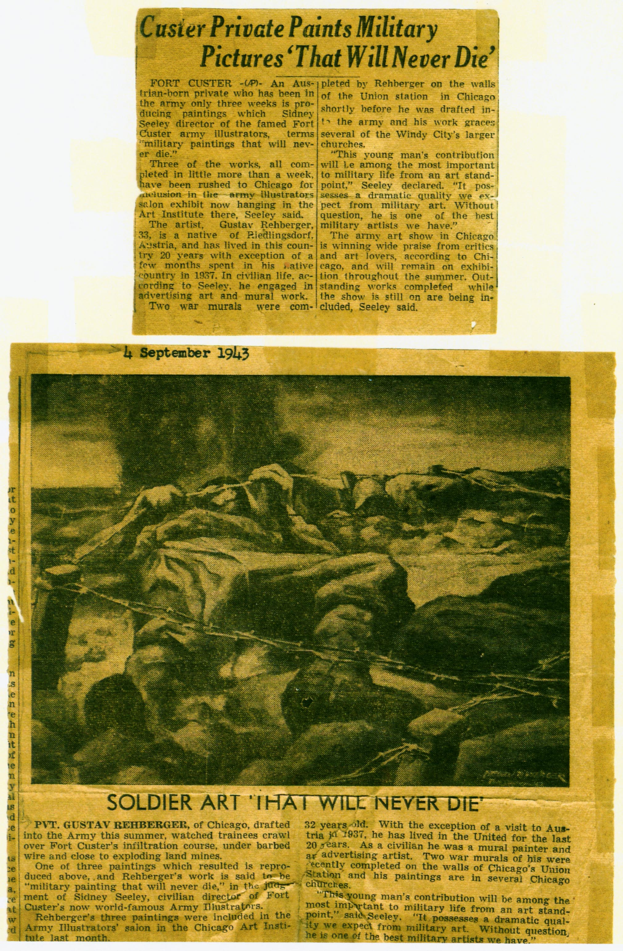 "Helen Bower. ""Soldier Art - That Will Never Die."" Detroit Free Press, September. 4, 1943. Painting Titled, ""Under the Wire"" by Private Gustav Rehberger, Special Services Artist with the Fort Custer Illustrators."