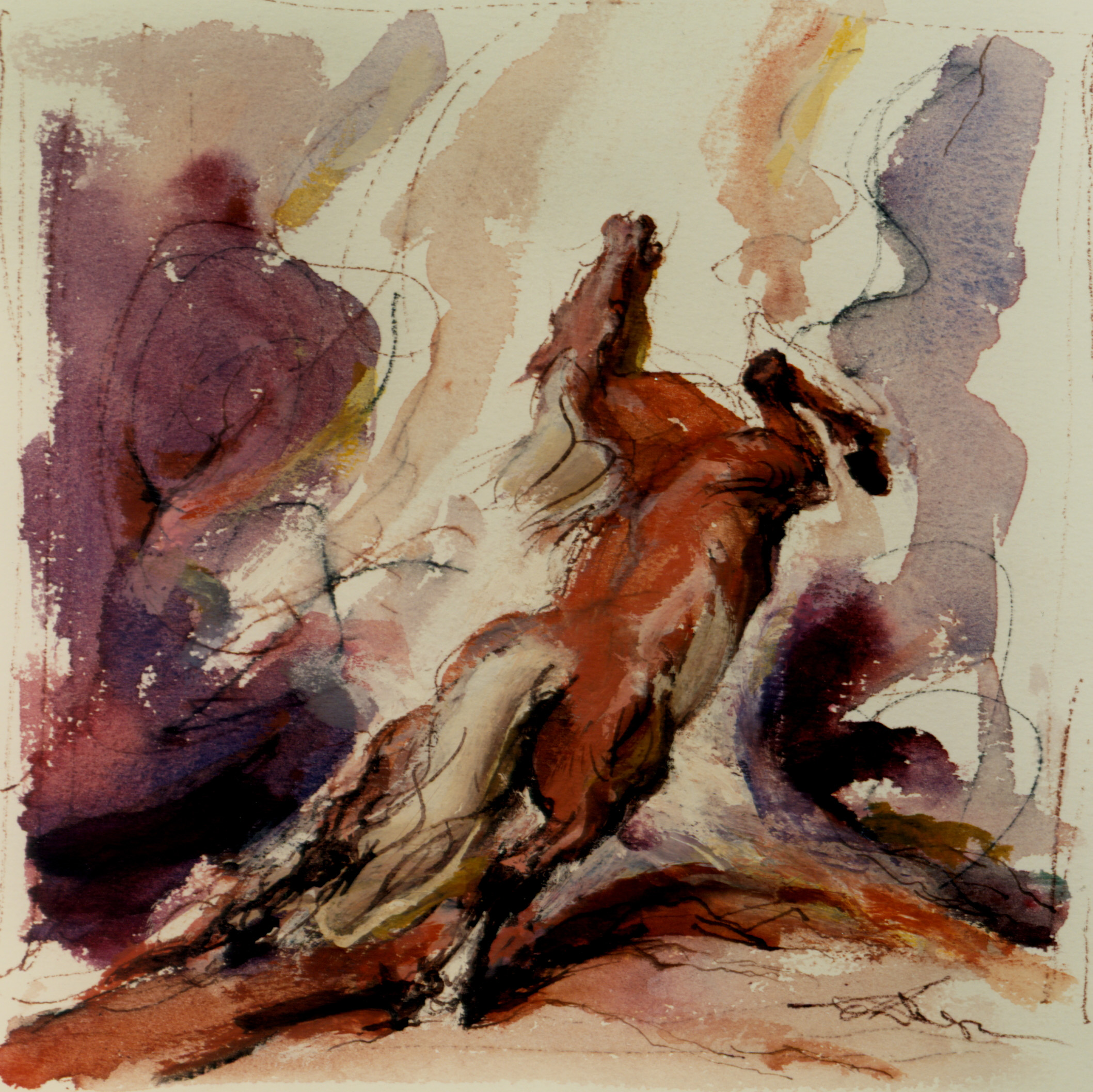 (Watercolor, Gouache, 8 x 8 in.)