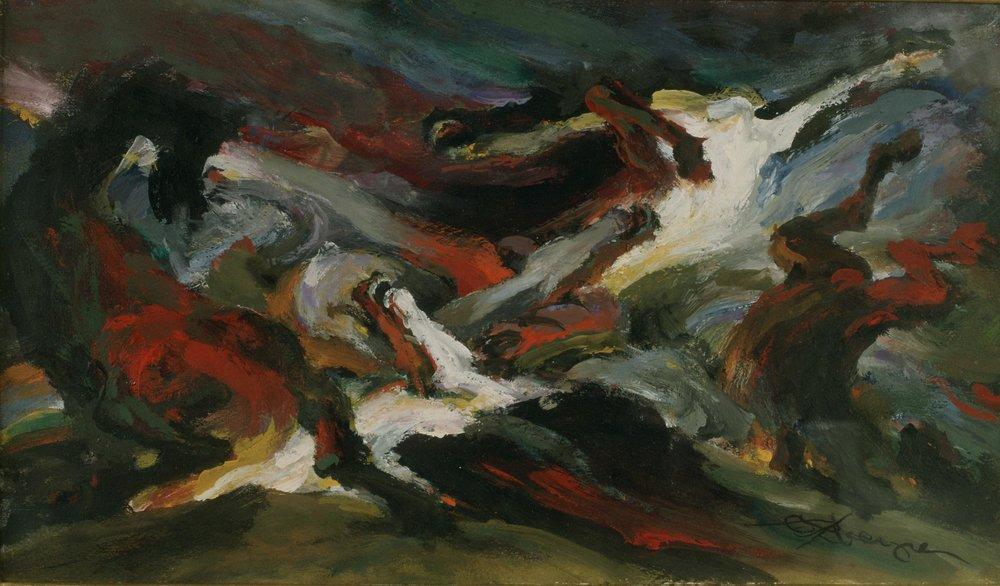 """Apocalyptic Horses"" (Mixed Media, 7 x 12 in.) 1987"