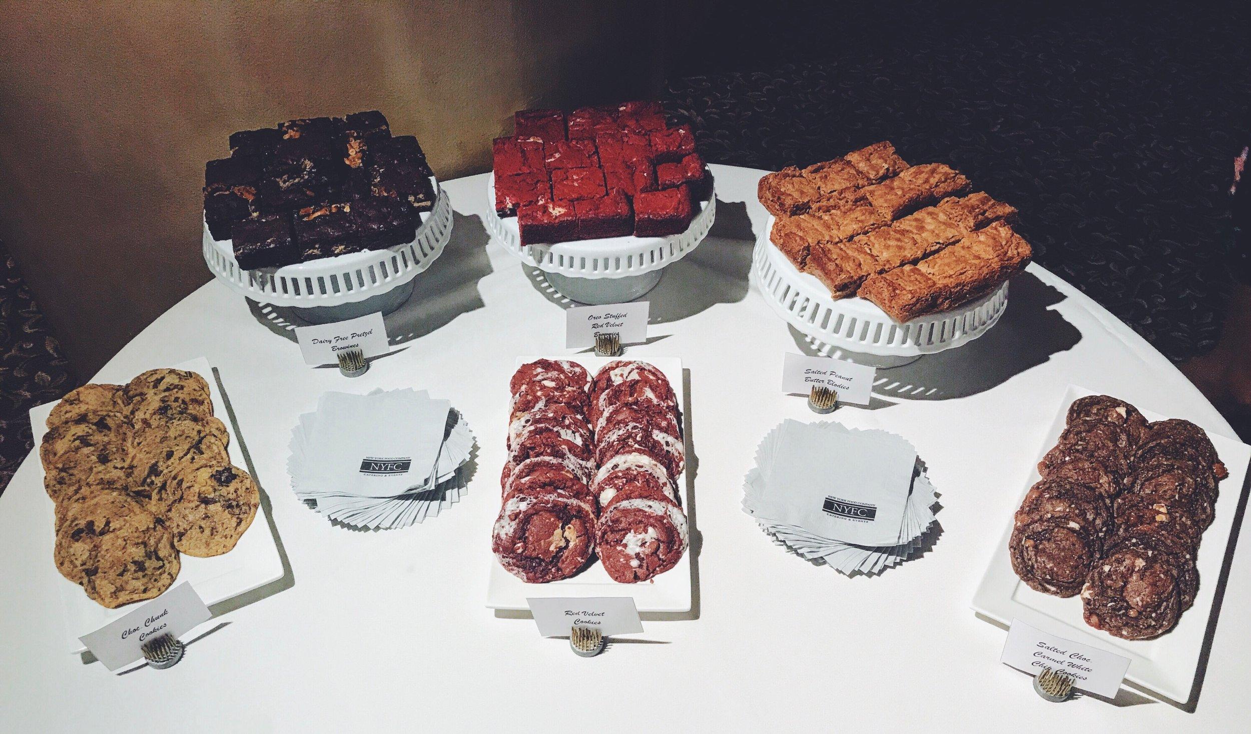 wedding dessert table of gluten free cookies, brownies, and blondies .. @carly.rose_k & @caguirre5