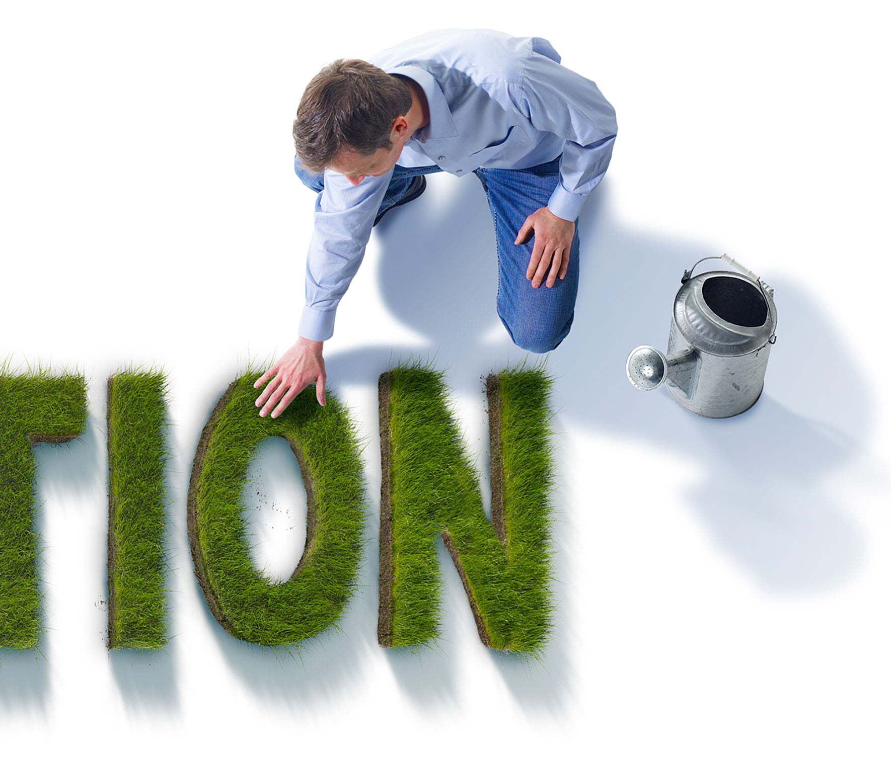 Information Man tending the green grass