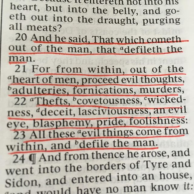 Mark 7:20-23 A list of character defects - desires of the heart that can be removed with God's help.