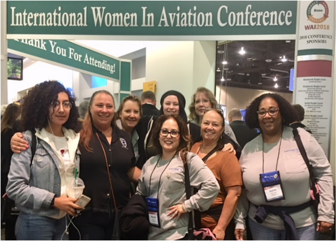 Pictured are some the participants from SFO: Jet Shop Chief Steward Deborah Ward-Crummey - Technician, Dorothy McClain - SFOWR Metal Spray/Flame Spray, Rhonda Bustillos-Rivera SFOWR Welder, Sharon Dimatteo - SFOJJ Stores, Candice King SFOWR Welder and Andrea Coleman Maintenance Planning Analyst - MPA . Also shown are two High School students learning about Careers in Aviation, Arelly Benavidez (15) Galt High School - Sophmore and Lillian Crummey - (15) Vision in Education/Delta College - Sophmore