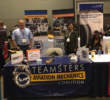 International Representative Chris Moore and Deputy Division Director Allynn Allen manning the Airline Division Booth at STEM