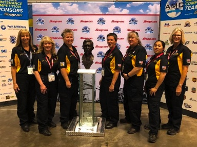 """UAL """"Chix Fix,"""" one of the three all female teams competing at the MRO Competition"""