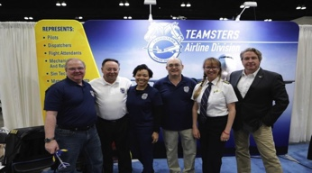 (L to R) International Representative Bob Fisher, Airline Division Director Captain David Bourne, Assistant Division Director Allynn Allen, TAMC Chairman Chris Moore and Atlas Air 747 Captains Anna Eivor Ivarsson and Daniel Wells at the SciFest SoCal.