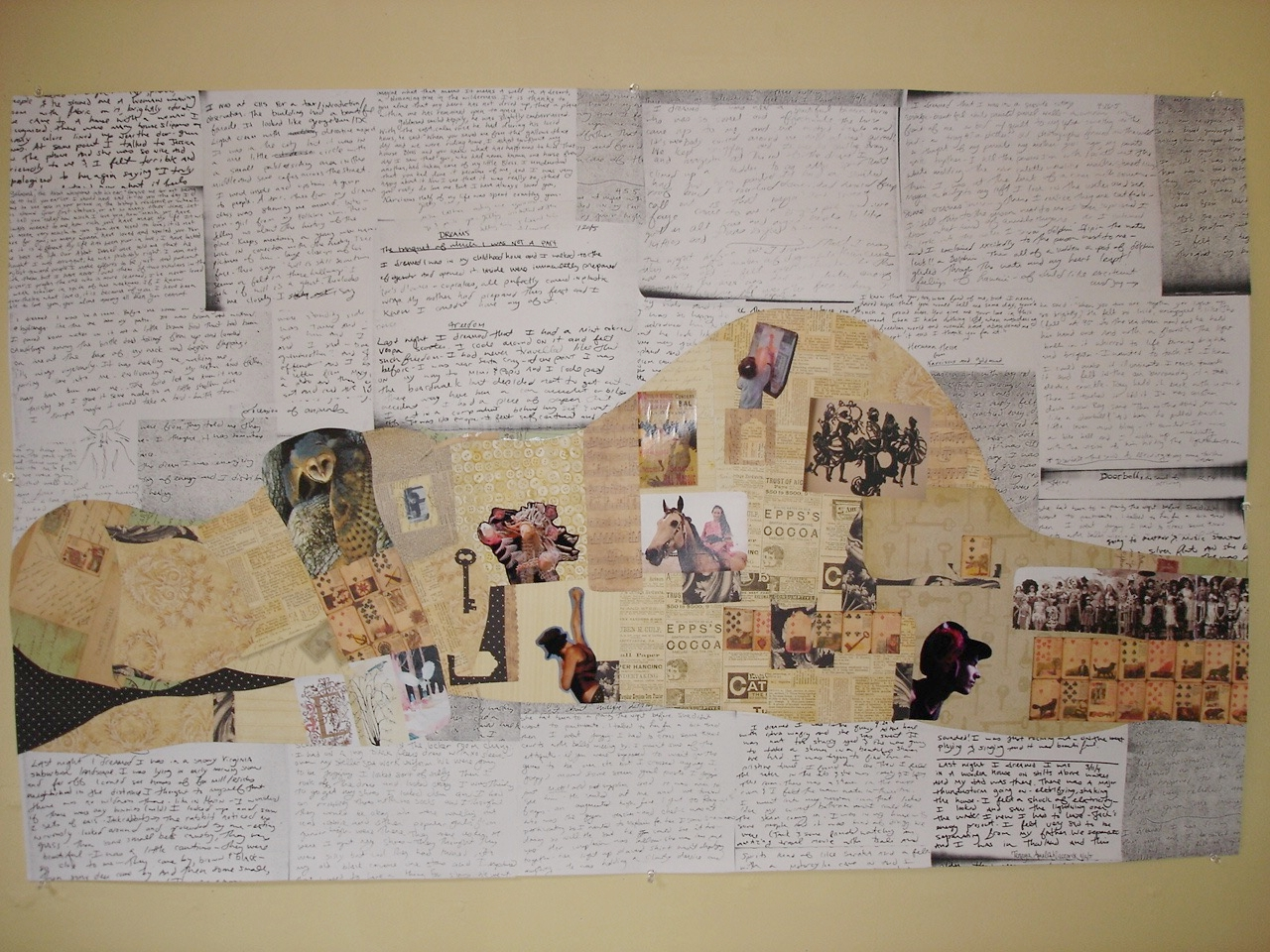 Dreaming Self  collage with dream journal entries~ 3x5 ft.