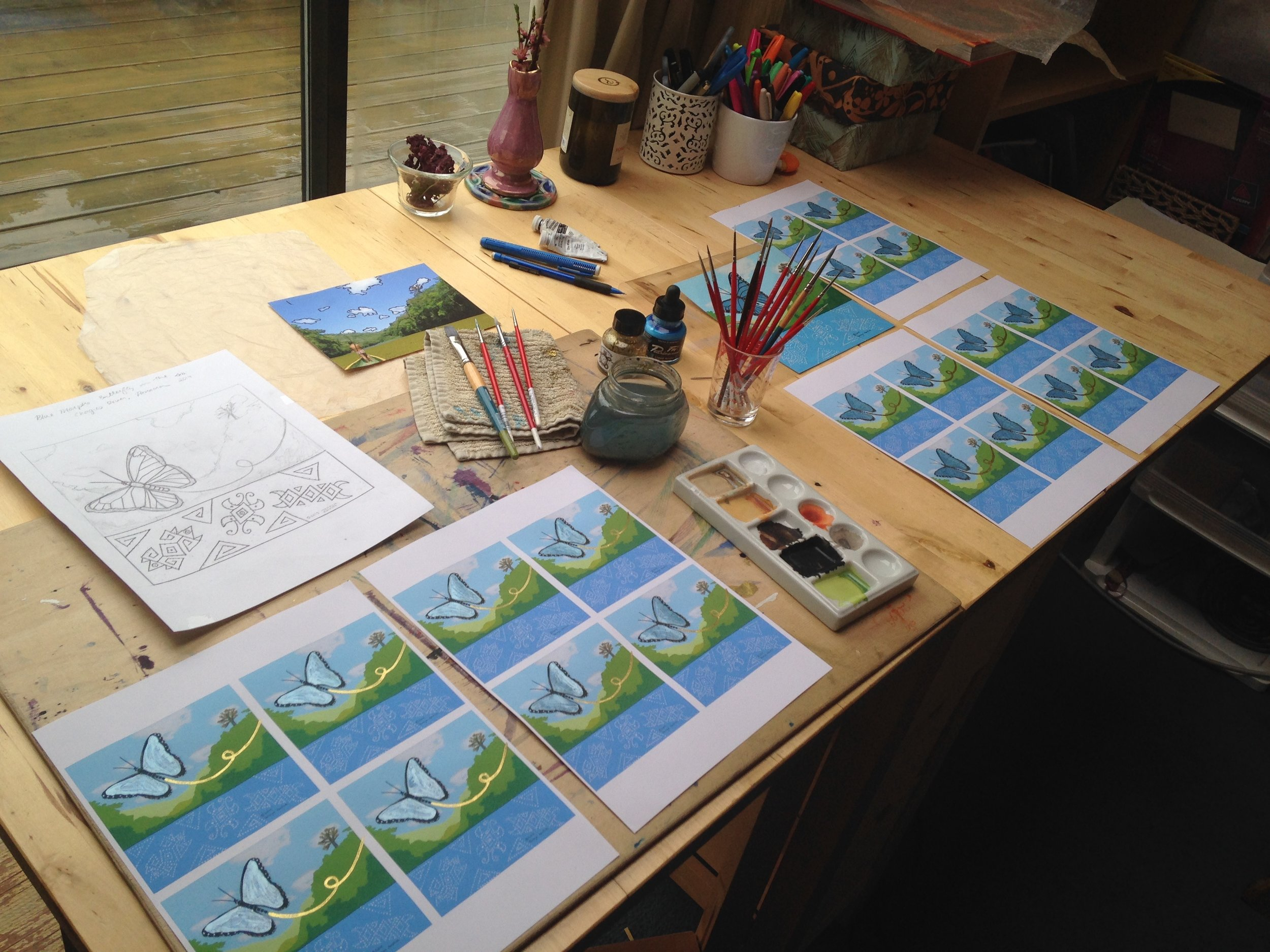 Creating Blue Morpho Butterfly cards by hand