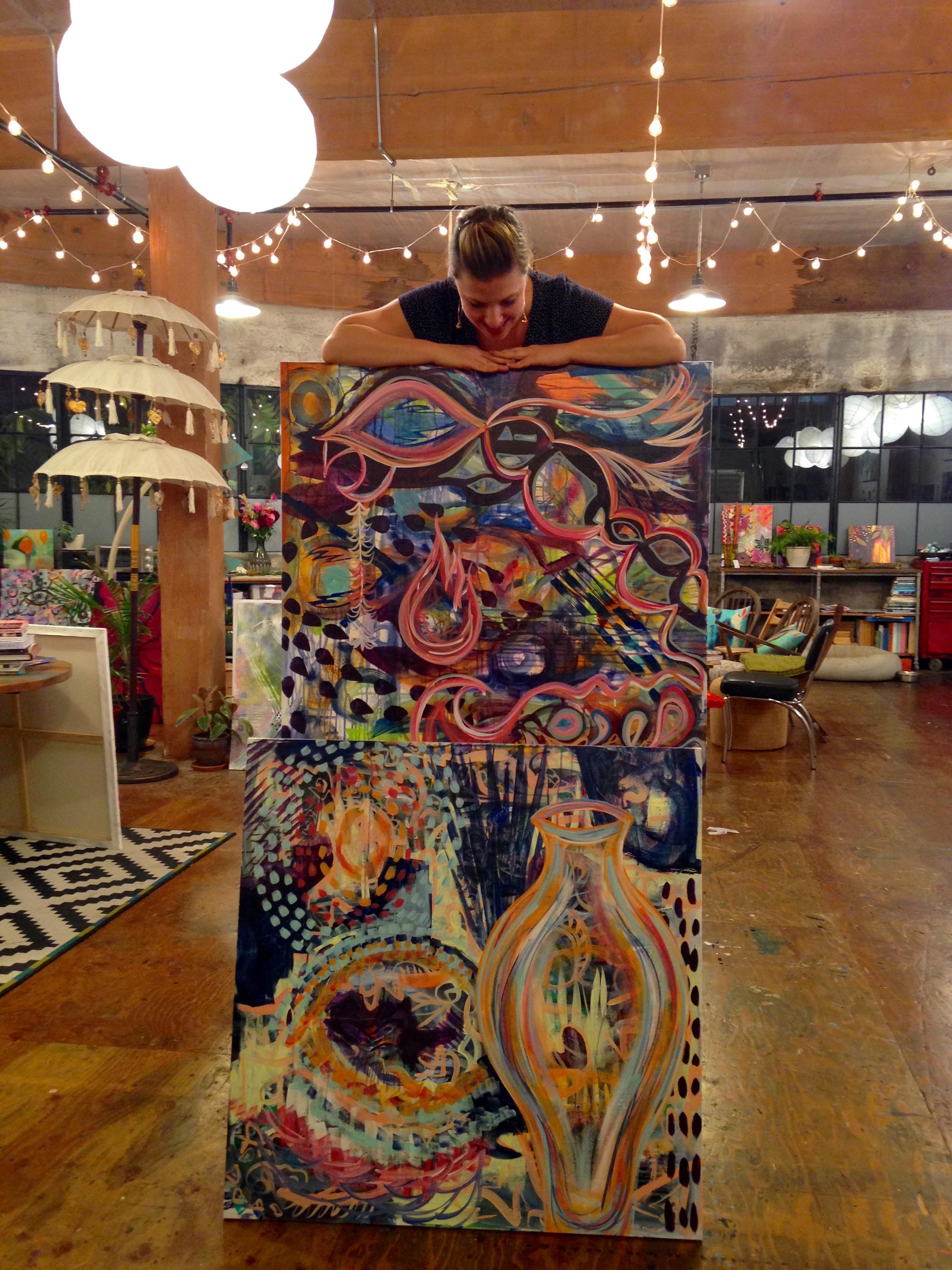 Paintings in progress at Flora's enchanting studio~