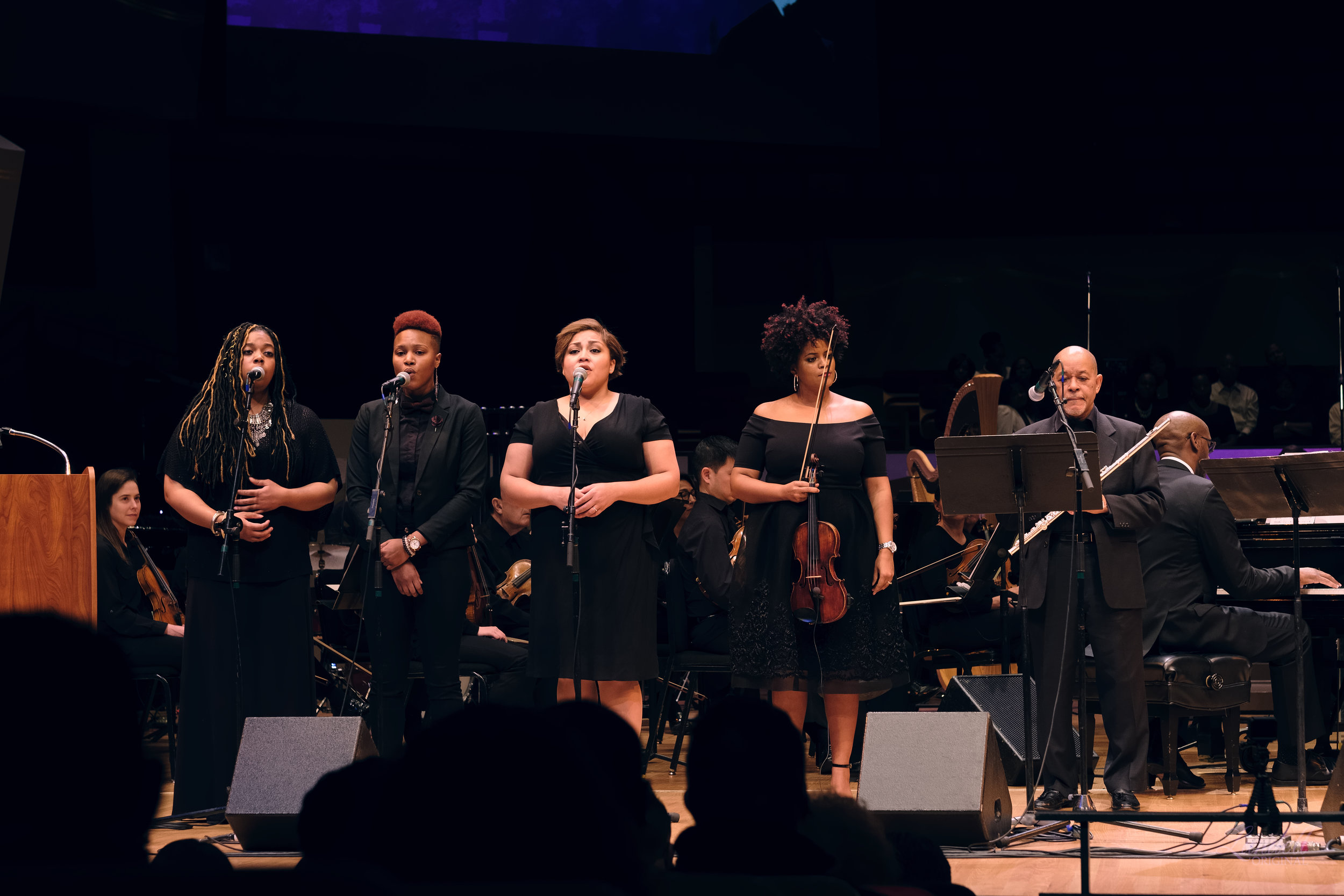 (from l to r):  Brionne Wright ,  Kerrie Joy ,  Brittany Evans Williams , violinist  Monique Brooks-Roberts  , Flutist  Michael A. Hancock , & Pianist  Mike Chipman . (Pic:  Ryan Landell )