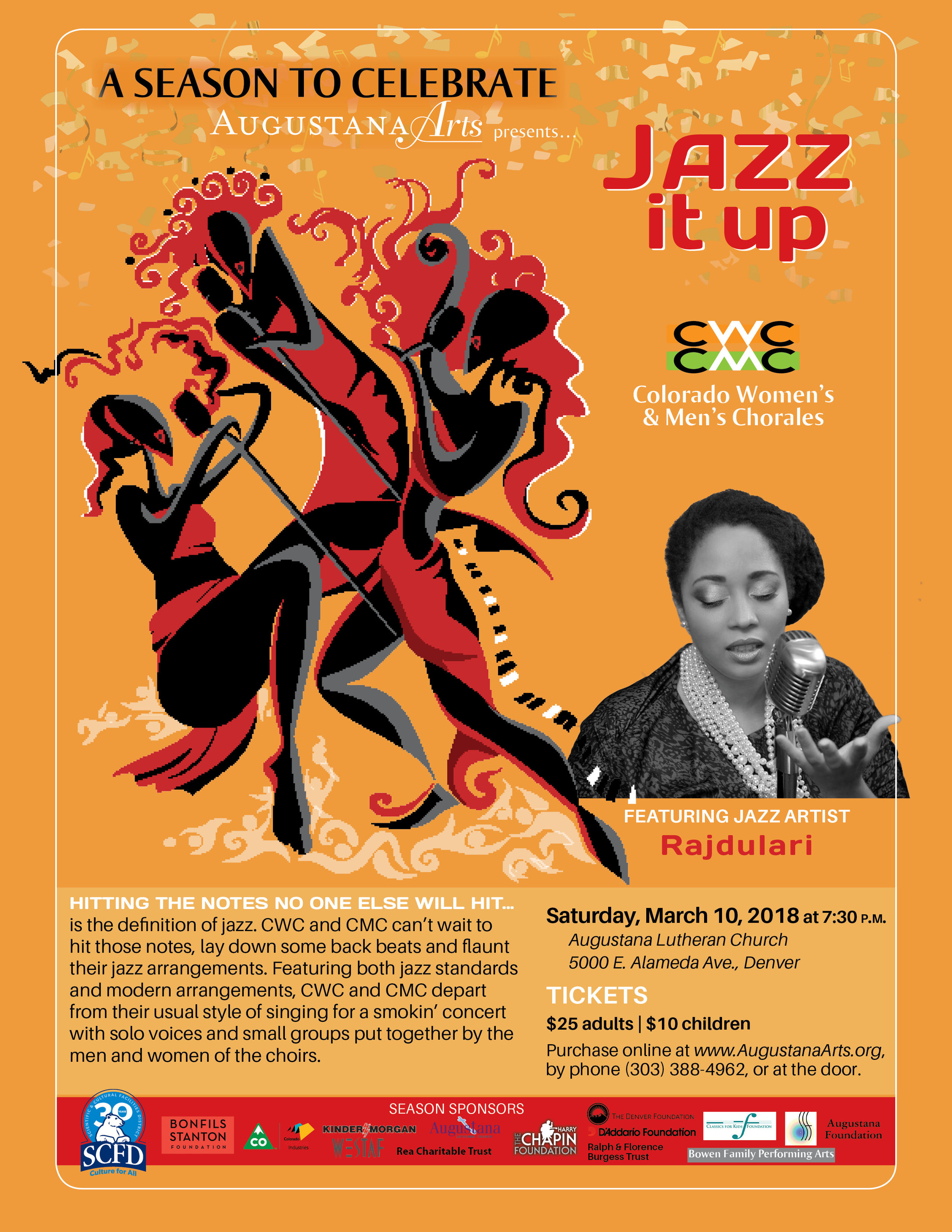 Denver - MARCH 10th- I'll be performing as the featured vocalist at 'Jazz It Up', a musical celebration of Jazz with the Colorado Women's & Men's Chorales at the Augustana Lutheran Church!
