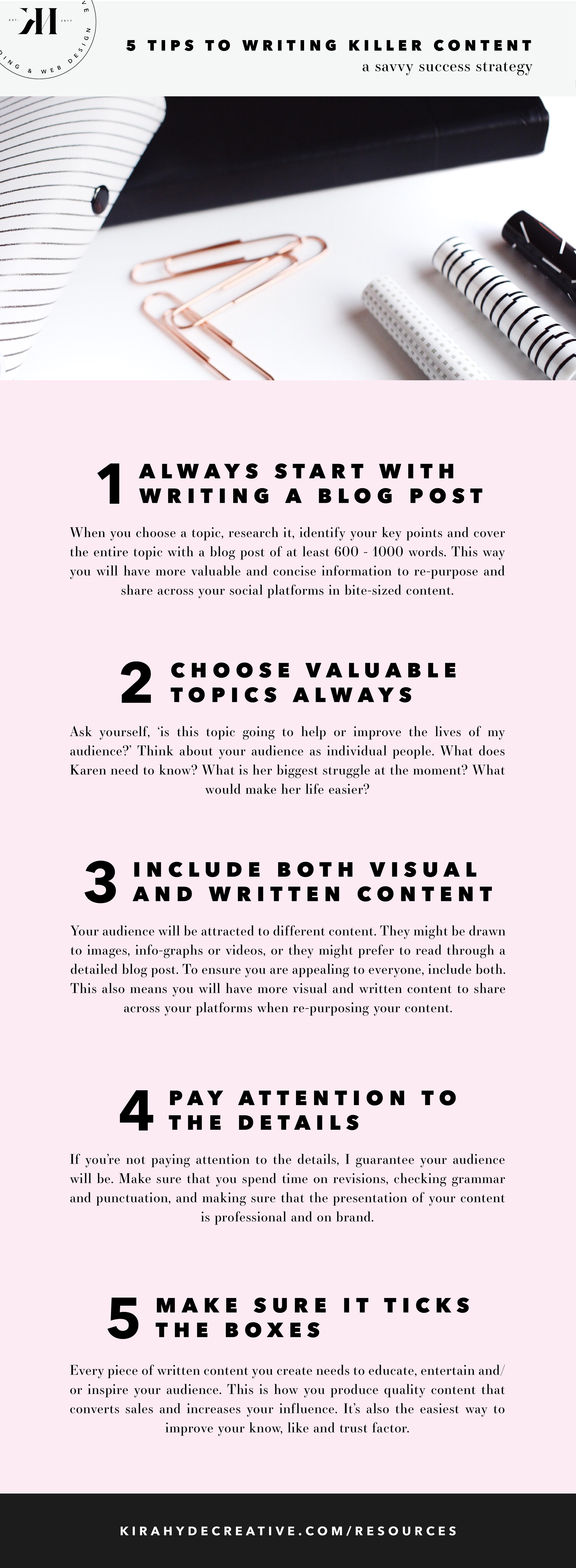 5 Tips to Writing a Killer Blog Post - Kira Hyde Creative