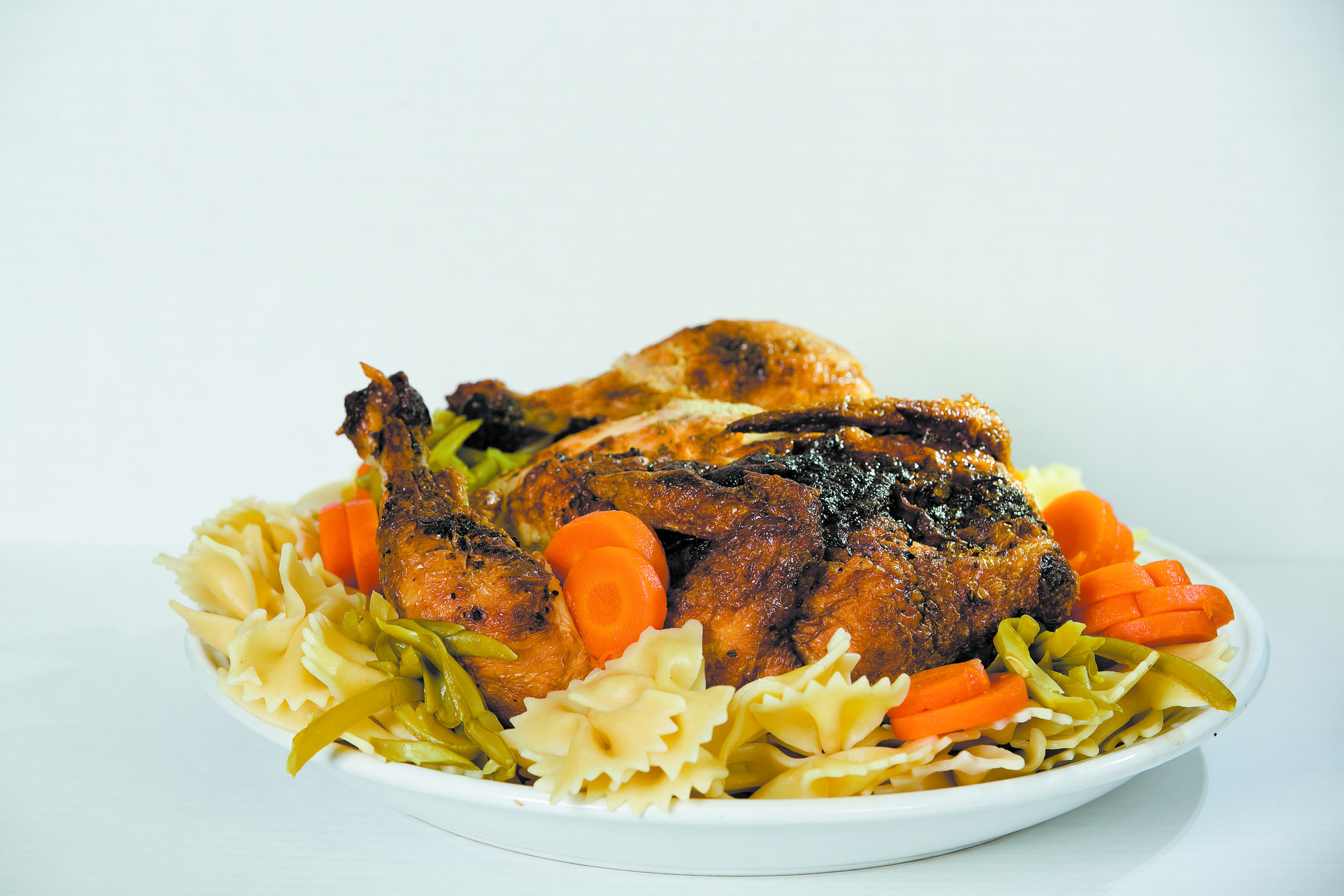 Chicken and pasta with canned veggies. Credit: Giles Clasen