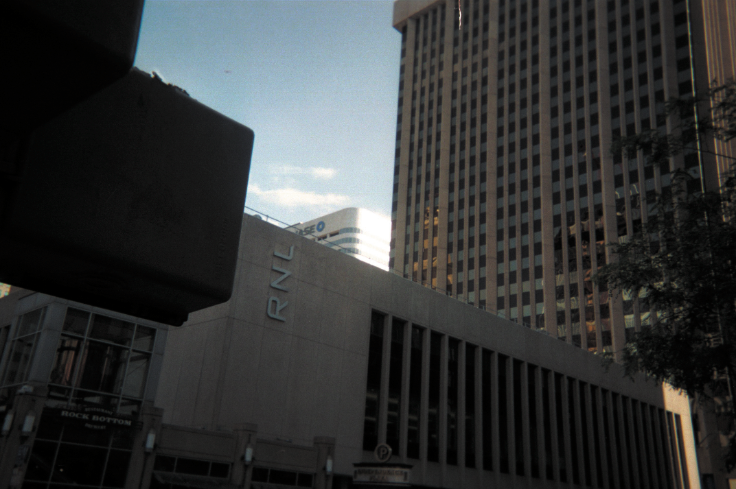 16th and Curtis Streets, looking up at Independence Plaza building