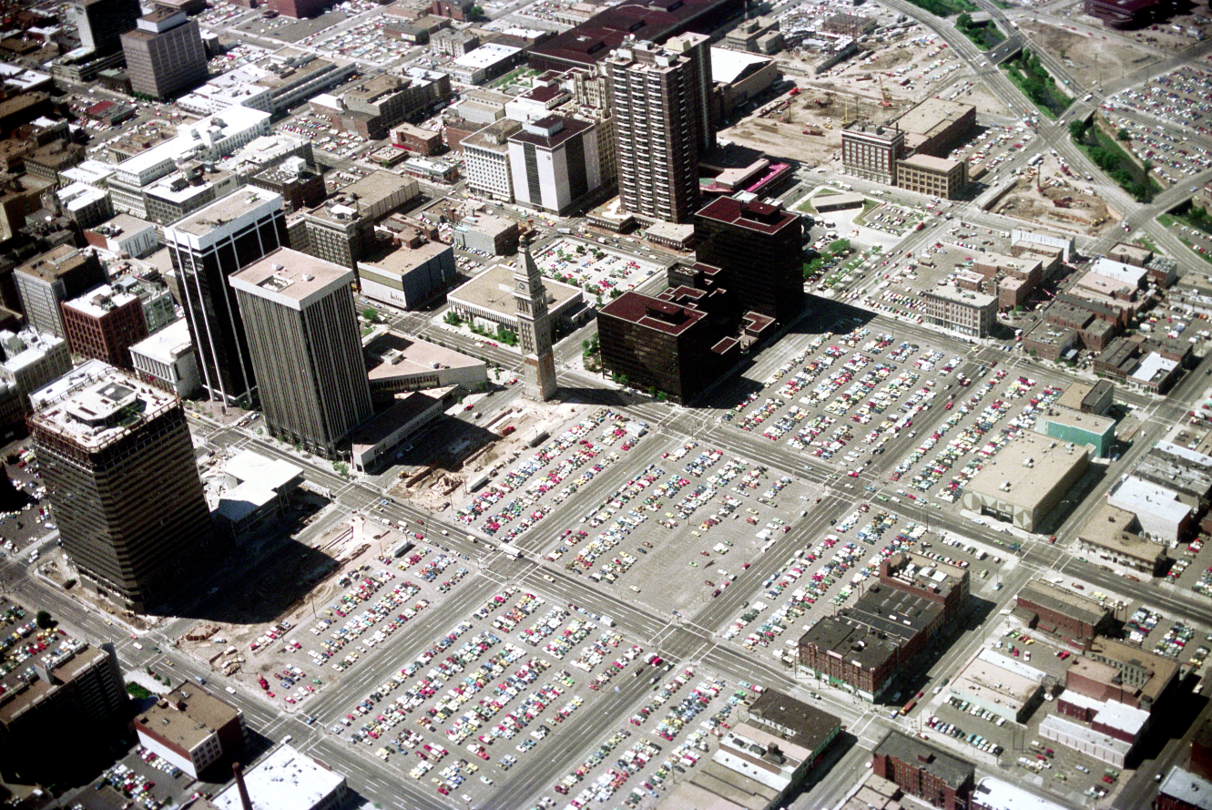 An aerial view of downtown Denver in 1976 shows much of the city had been developed as parking lot space. (Credit: Jack De Wolf)